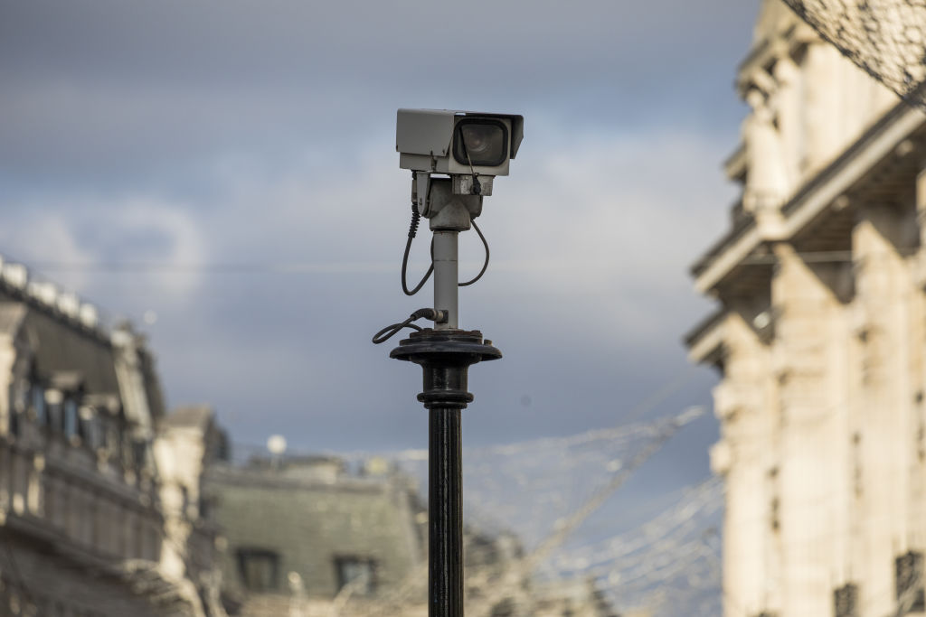 A CCTV camera (not equipped with facial recognition) in central London on Monday, Jan. 6, 2020.
