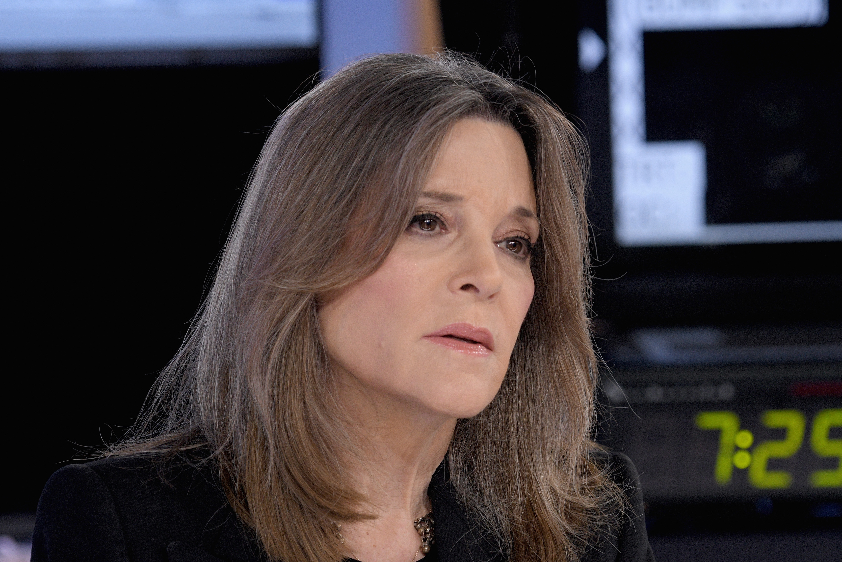 Democratic presidential candidate Marianne Williamson seen on the set of   The Story with Martha MacCallum  at Fox News Channel Studios on Oct. 17, 2019.