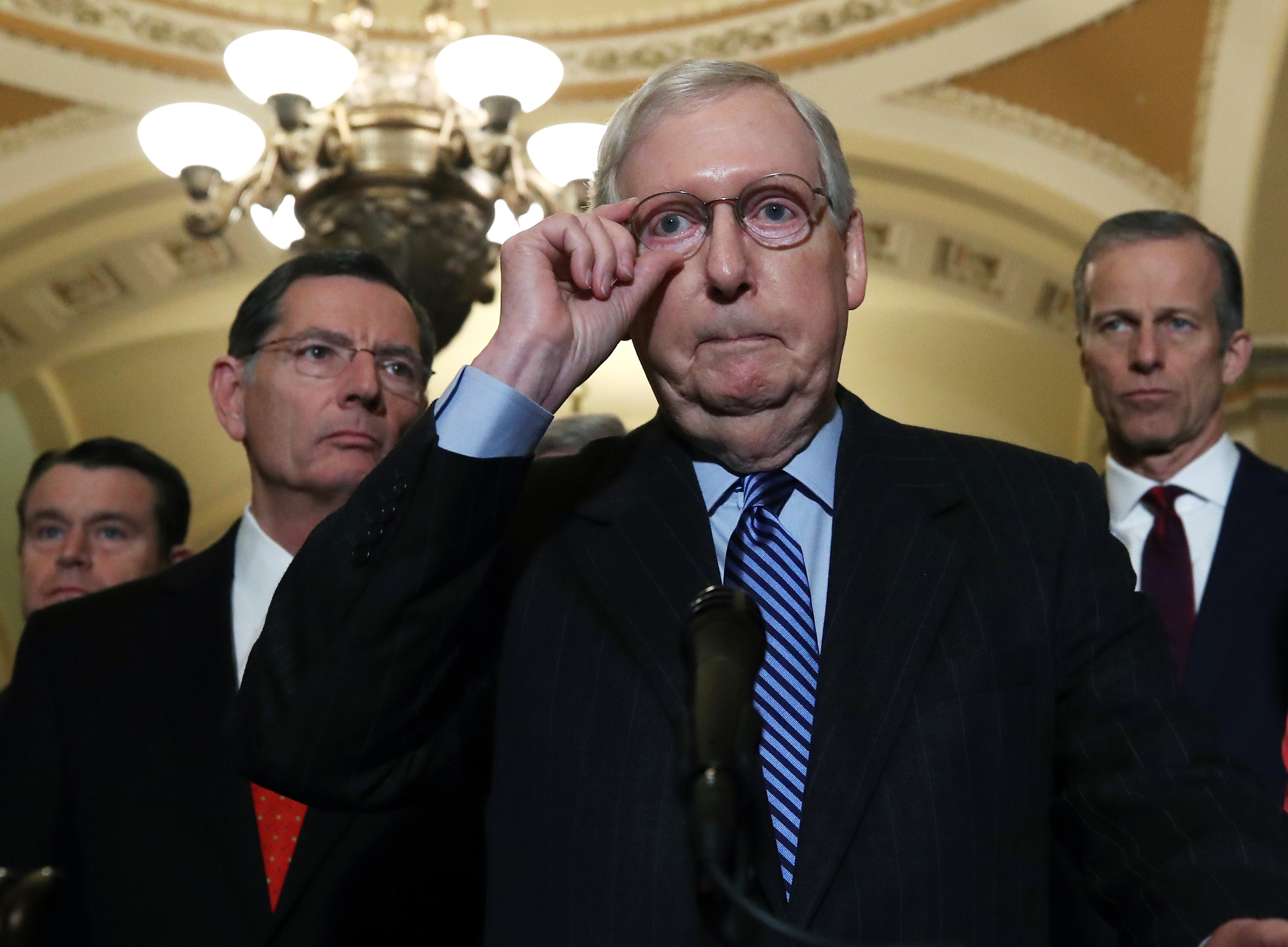 Senate Majority Leader Mitch McConnell talks to reporters after attending the weekly Senate Republicans' policy luncheon on Jan. 07, 2020 in Washington, D.C.