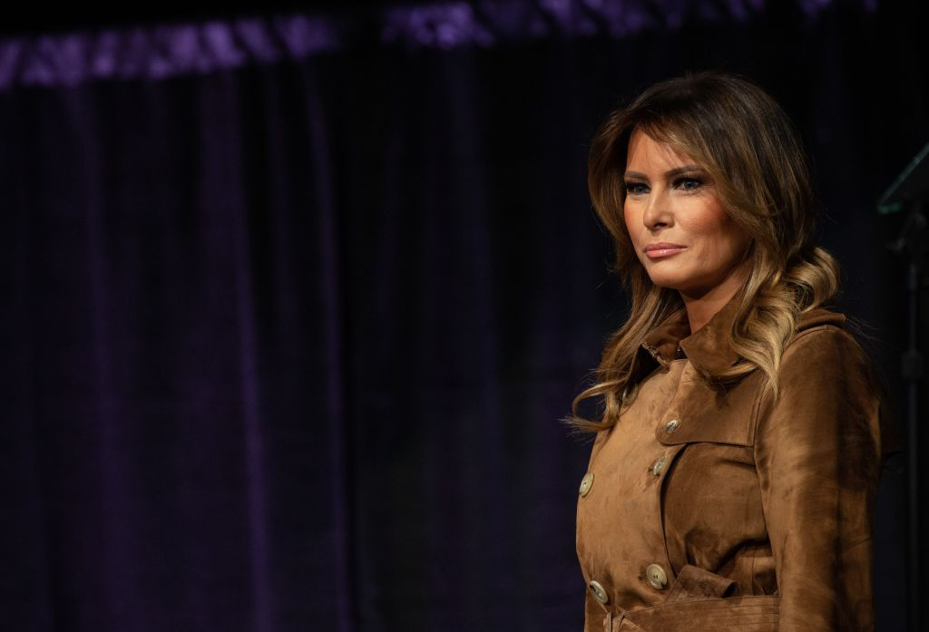 US First Lady Melania Trump arrives to address the B'More Youth Summit in Baltimore, Maryland, on November 26, 2019.