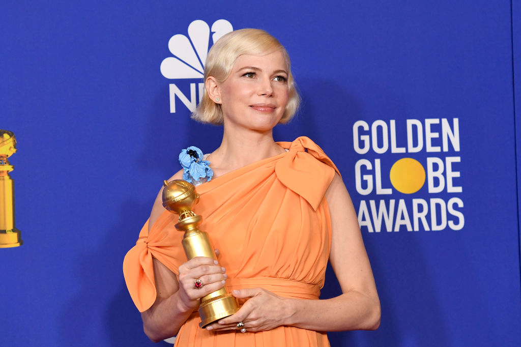 Michelle Williams, winner of the Best Performance by an actress in a Limited Series or a Motion Picture Made for Television for  Fosse/Verdon  poses in the press room at the 77th Annual Golden Globe Awards.