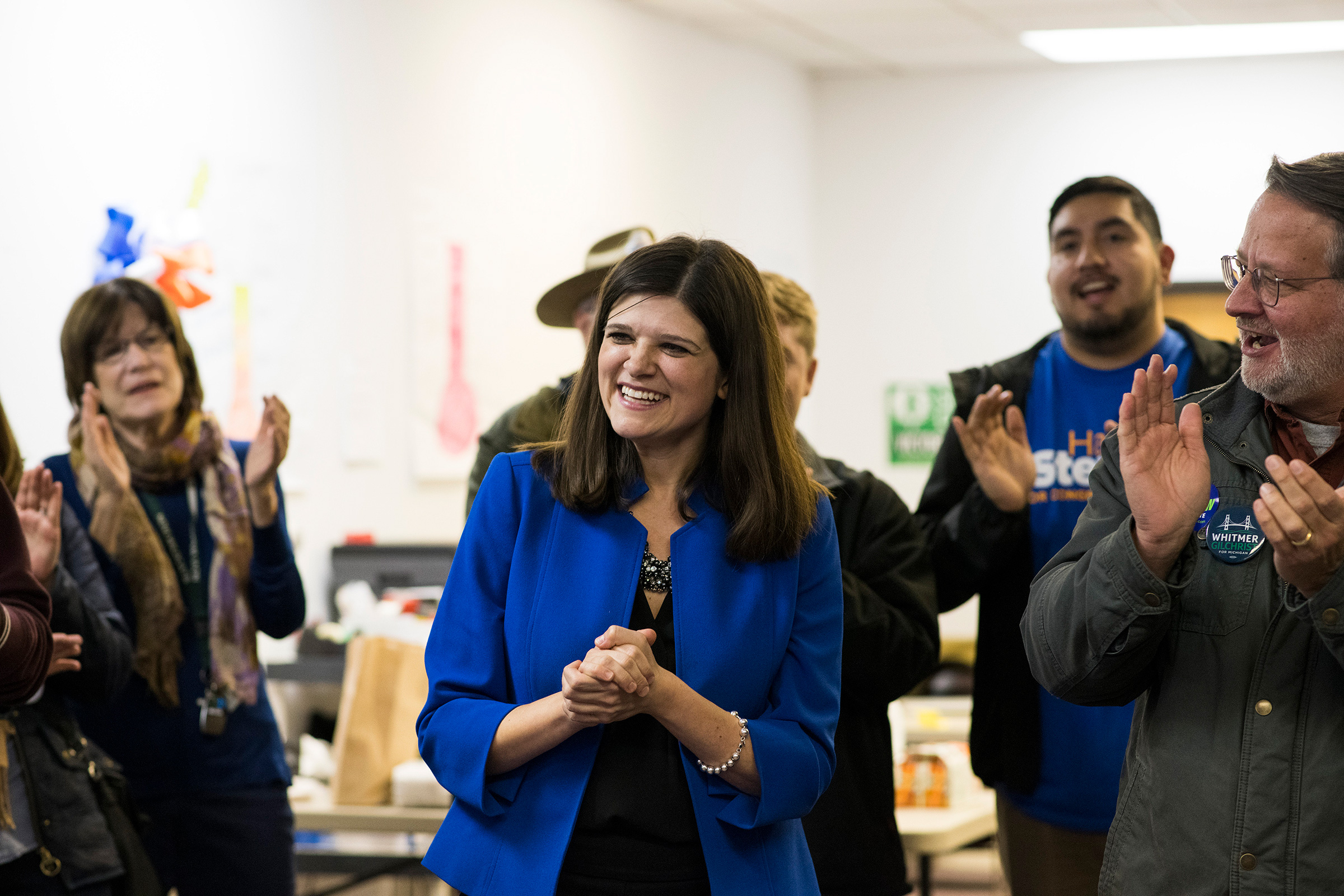 Stevens campaigns in her Michigan district during her 2018 congressional run