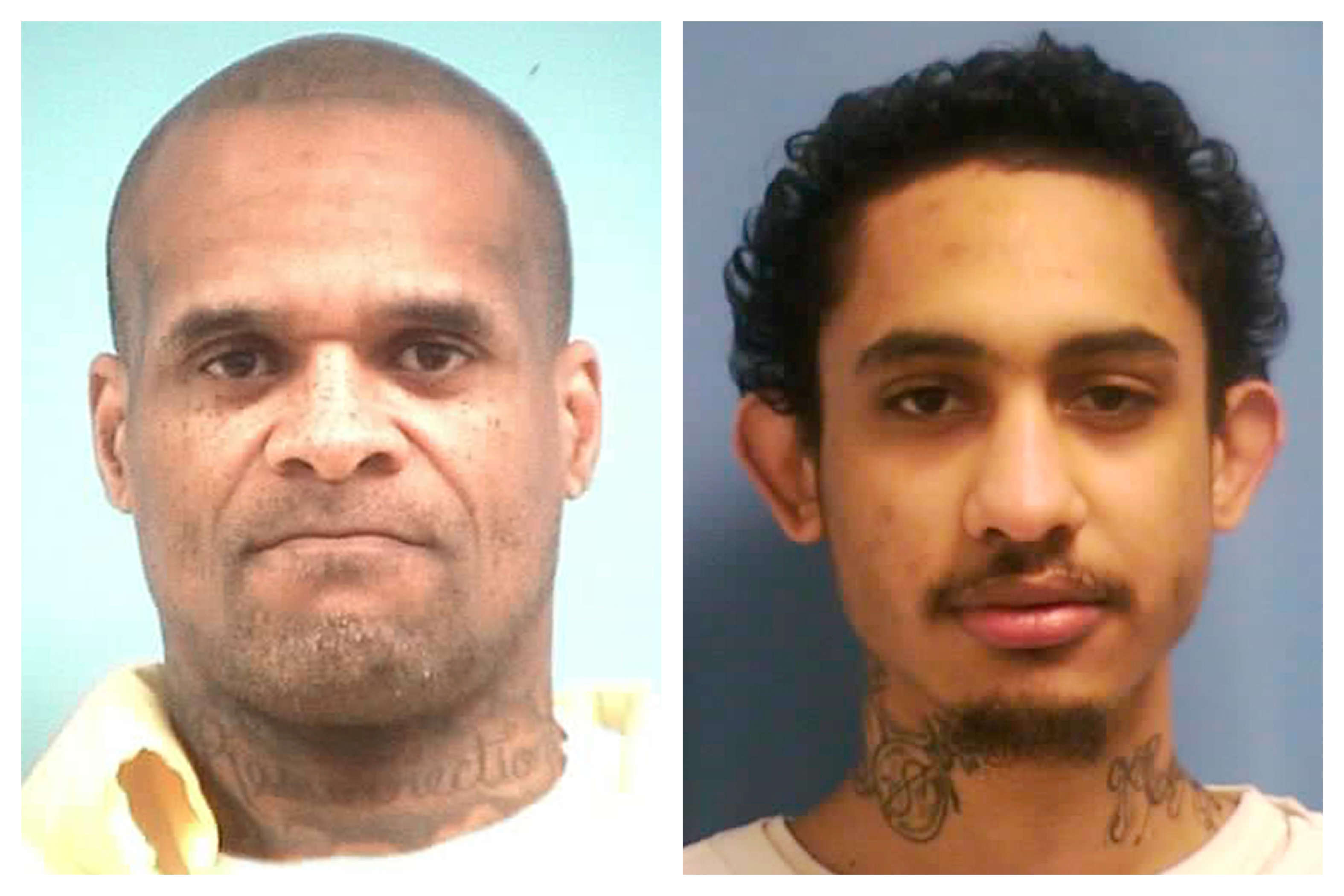 This combination of photos made available by the Mississippi Department of Corrections shows inmates David May, 42, and Dillion Williams, 27, on Jan. 4, 2020.