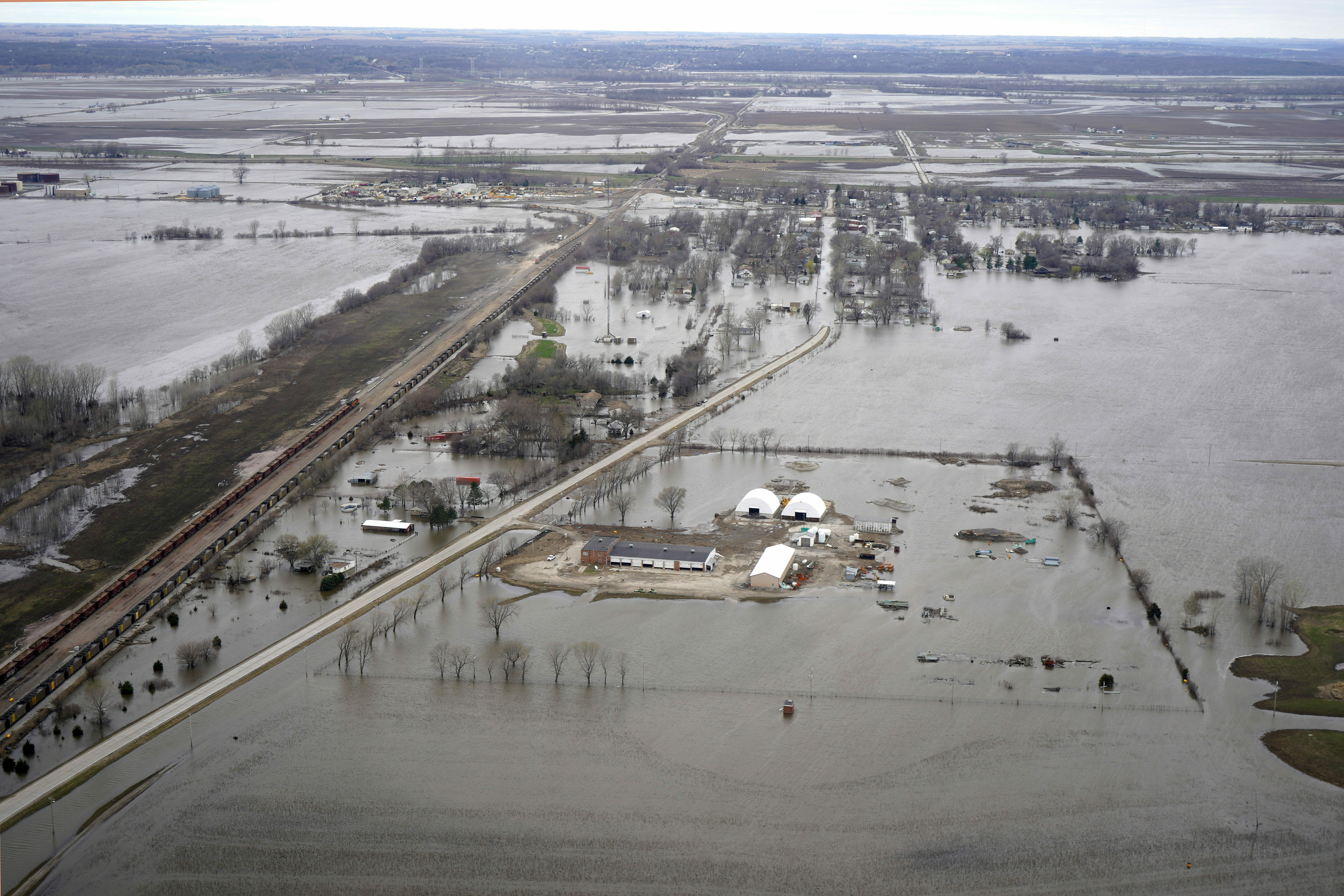 The flooded town of Pacific Junction, Iowa, on April 12, 2019.