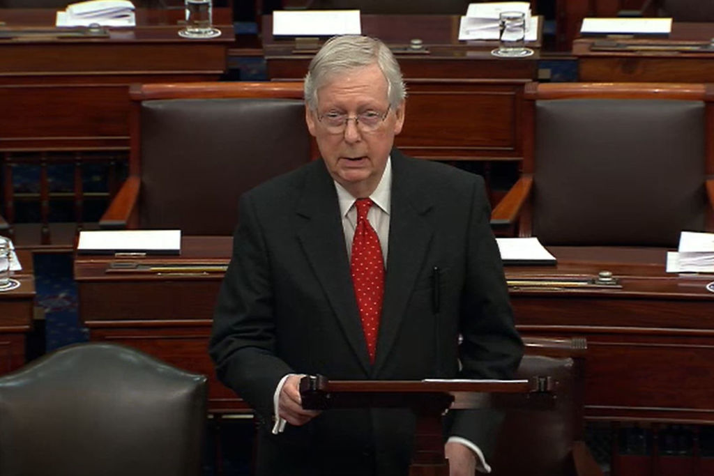 In this screengrab taken from a Senate Television webcast, Senate Majority Leader Mitch McConnell (R-KY) speaks during impeachment proceedings against U.S. President Donald Trump in the Senate at the U.S. Capitol on January 21, 2020 in Washington, DC.