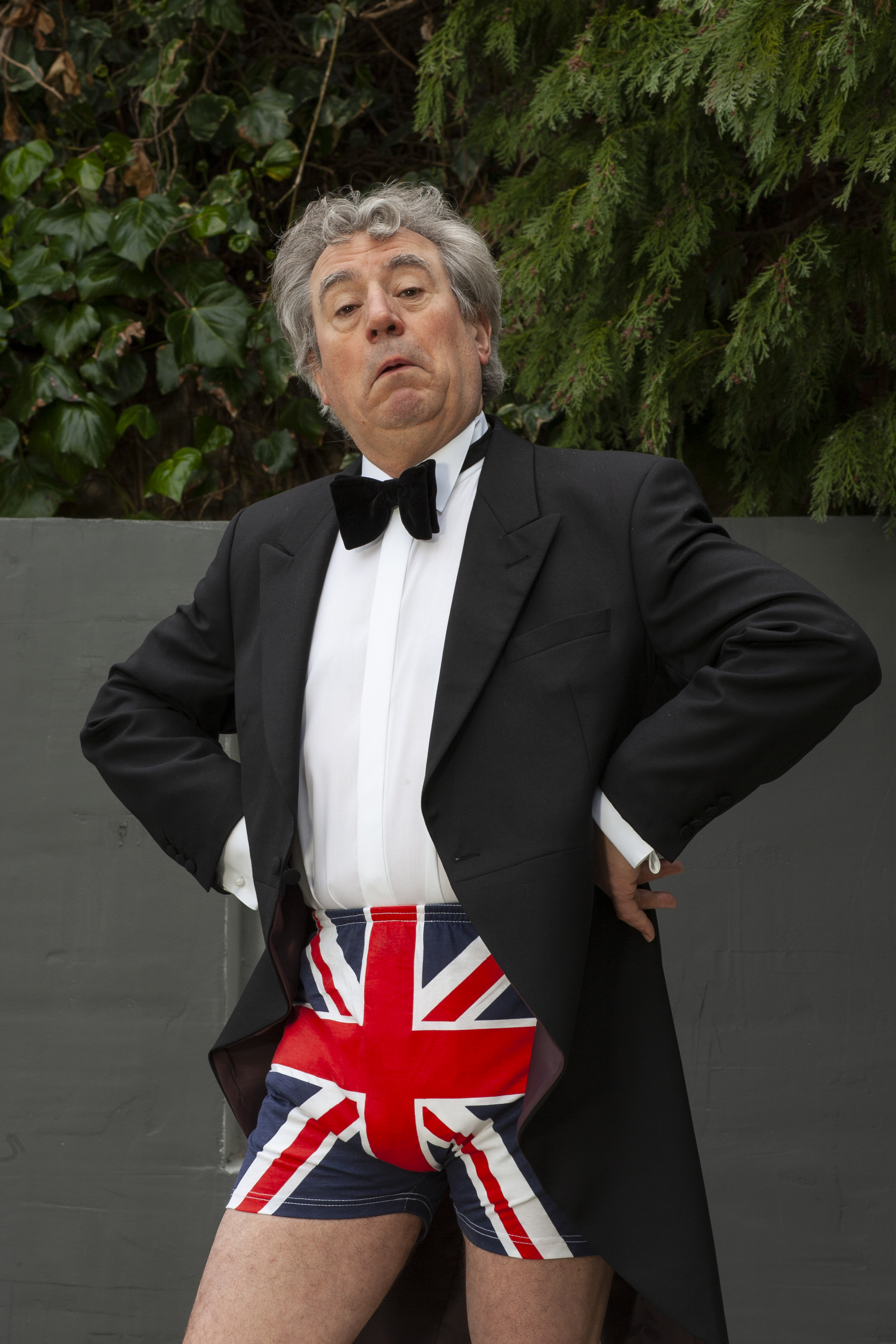 Terry Jones poses at his home in Hampstead, London wearing a pair of Union Jack flag underpants, on May 3, 2005.