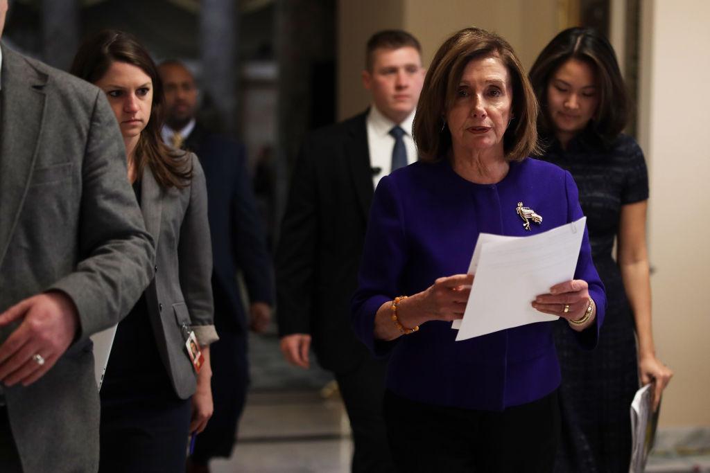 U.S. Speaker of the House Rep. Nancy Pelosi (D-CA) walks through a hallway at the U.S. Capitol in Washington, D.C., on Jan. 9, 2020.
