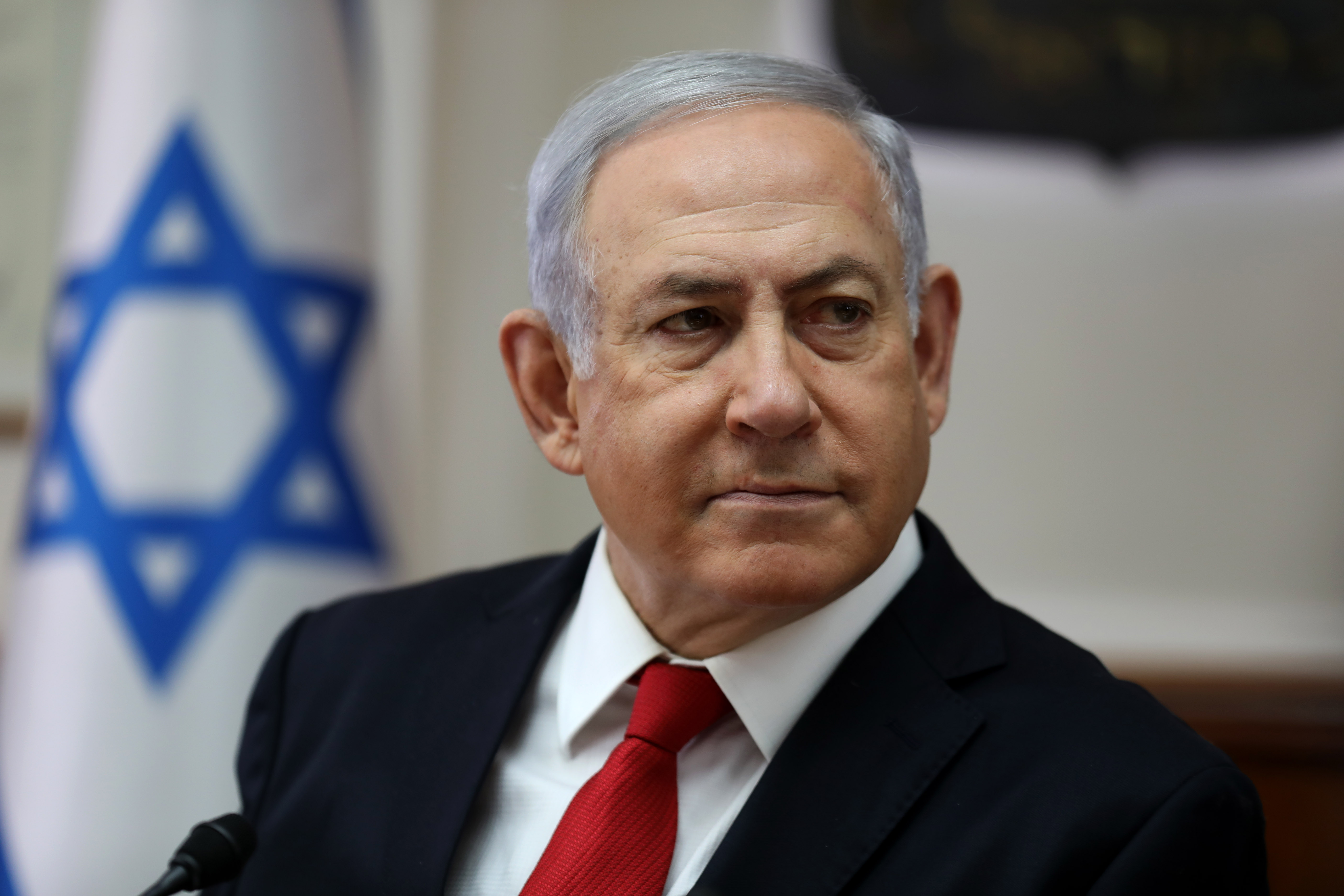 Israeli Prime Minister Benjamin Netanyahu chairs a cabinet meeting at his office in Jerusalem on Oct. 27, 2019.