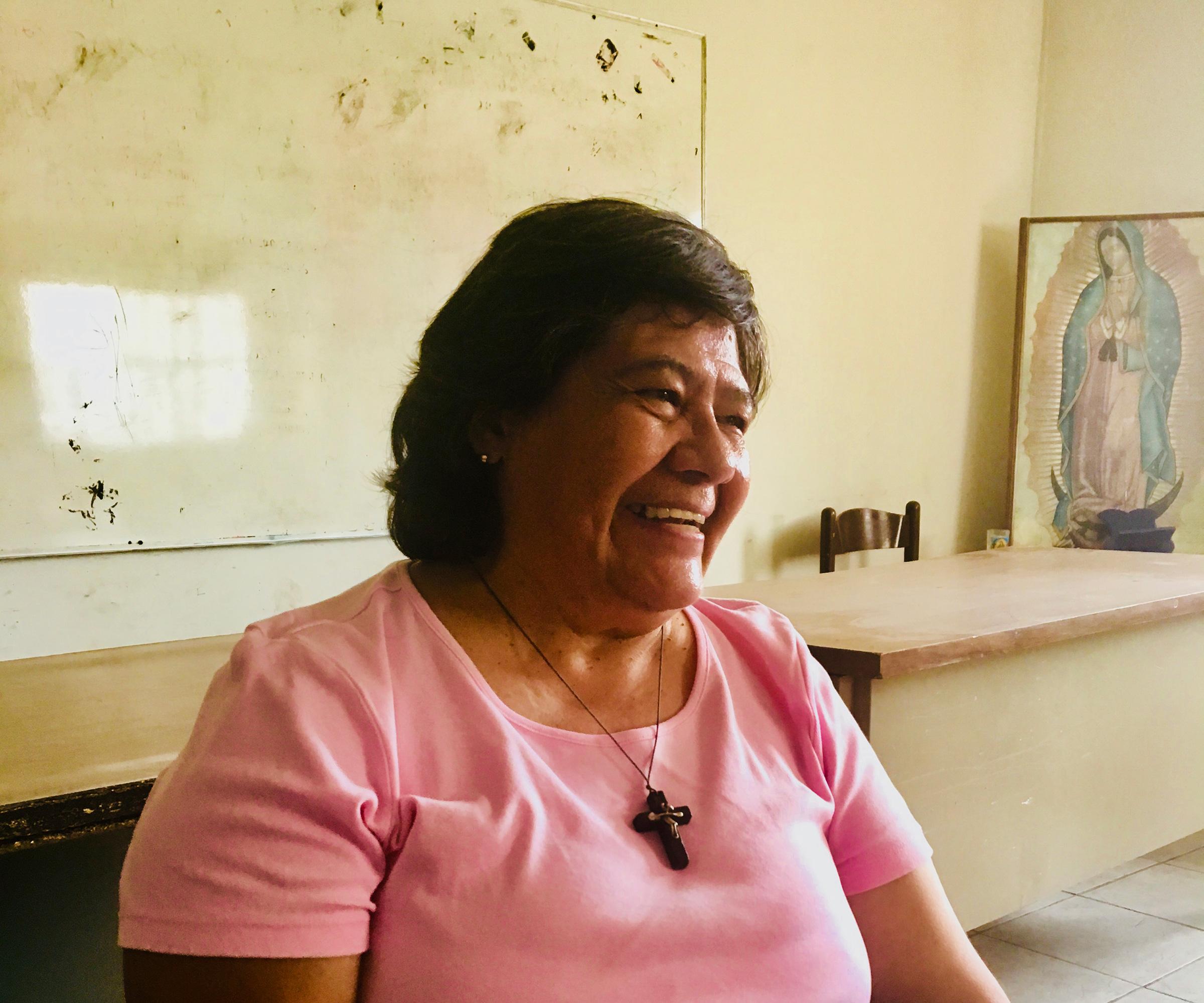 Sister Maria Antonia Aranda in the Juárez church where she works with migrants.