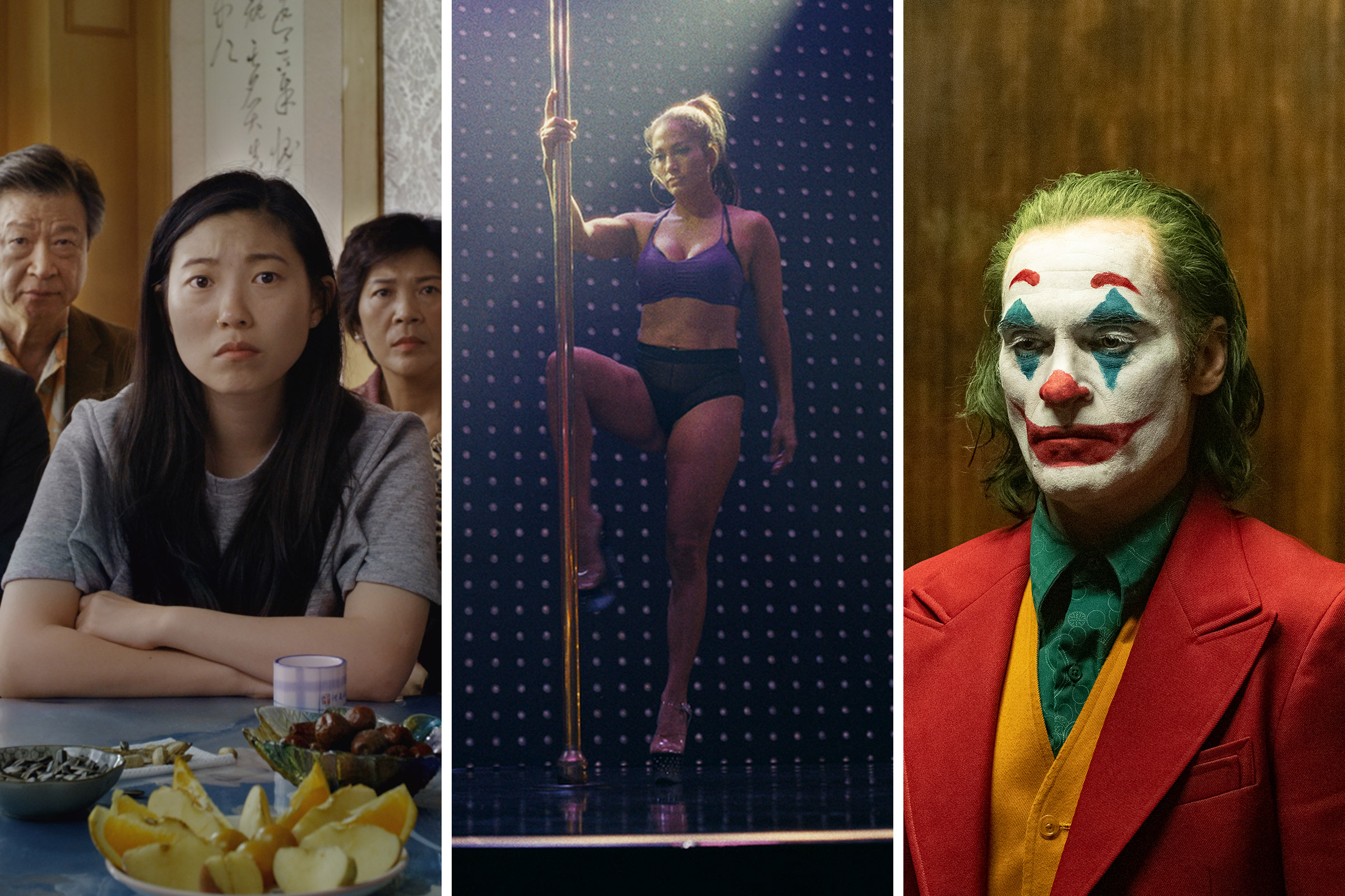 Awkwafina in 'The Farewell,  Jennifer Lopez in 'Hustlers,' Joaquin Phoenix in 'Joker.'