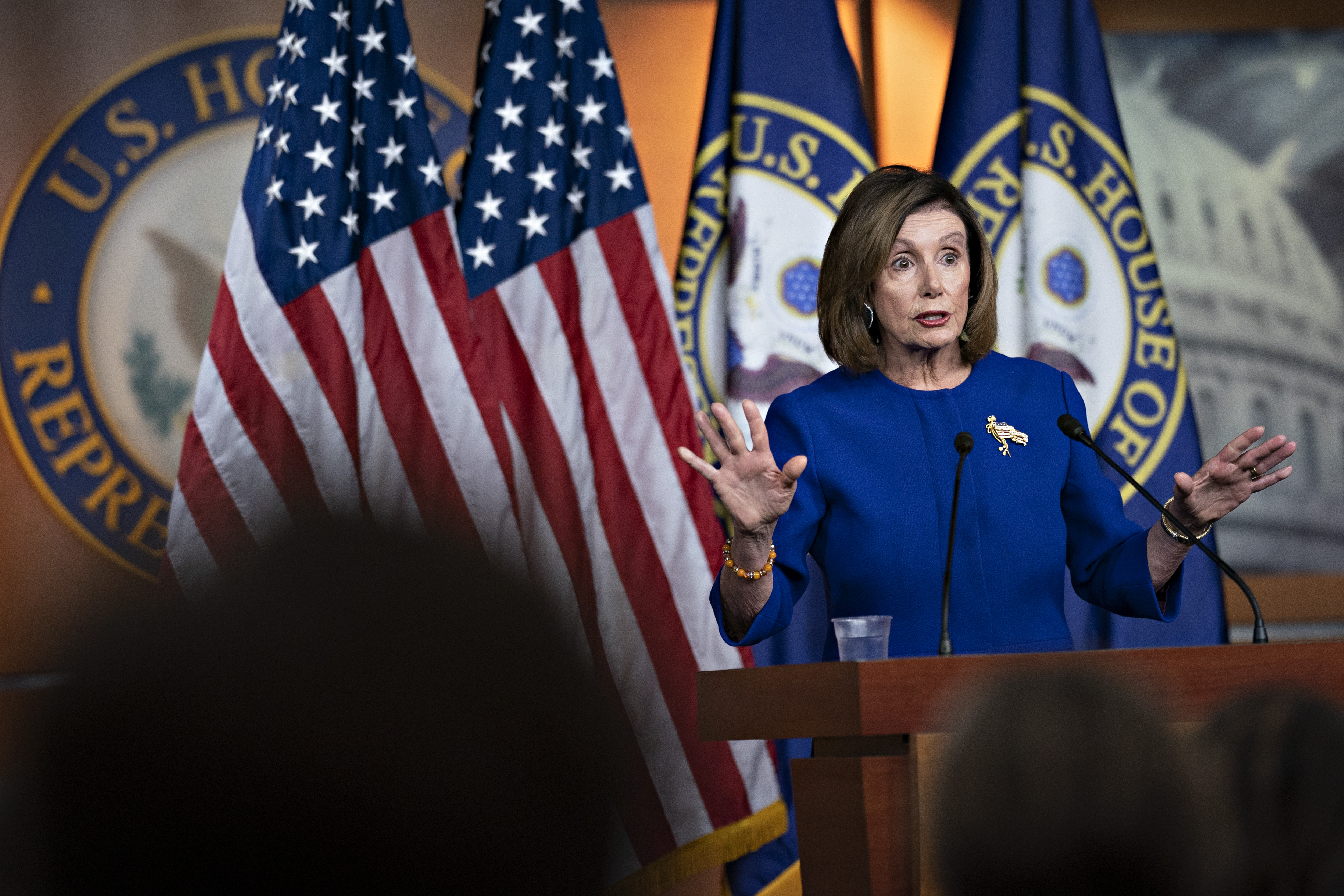 Nancy Pelosi, speaks during a news conference on Capitol Hill in Washington, D.C. on Jan. 9, 2020.