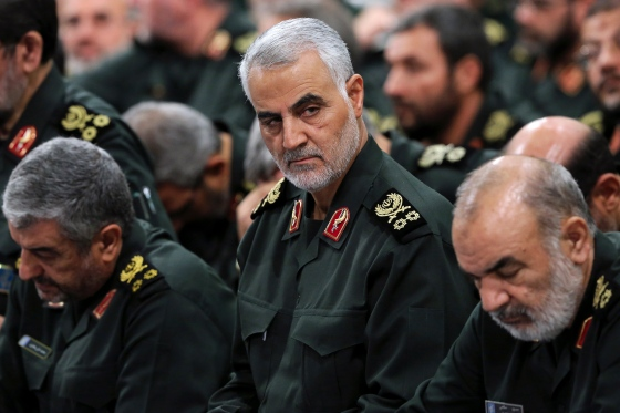 Gen. Qasem Soleimani, center, attends a meeting with Supreme Leader Ayatollah Ali Khamenei and Revolutionary Guard commanders in Tehran in September 2016.