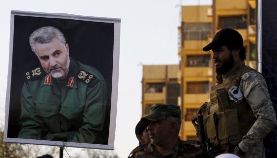 A portrait of Gen. Qasem Soleimani, commander of Iran's elite Quds Force, held at a Baghdad protest against the Saudi-led air campaign in Yemen in March 2015.