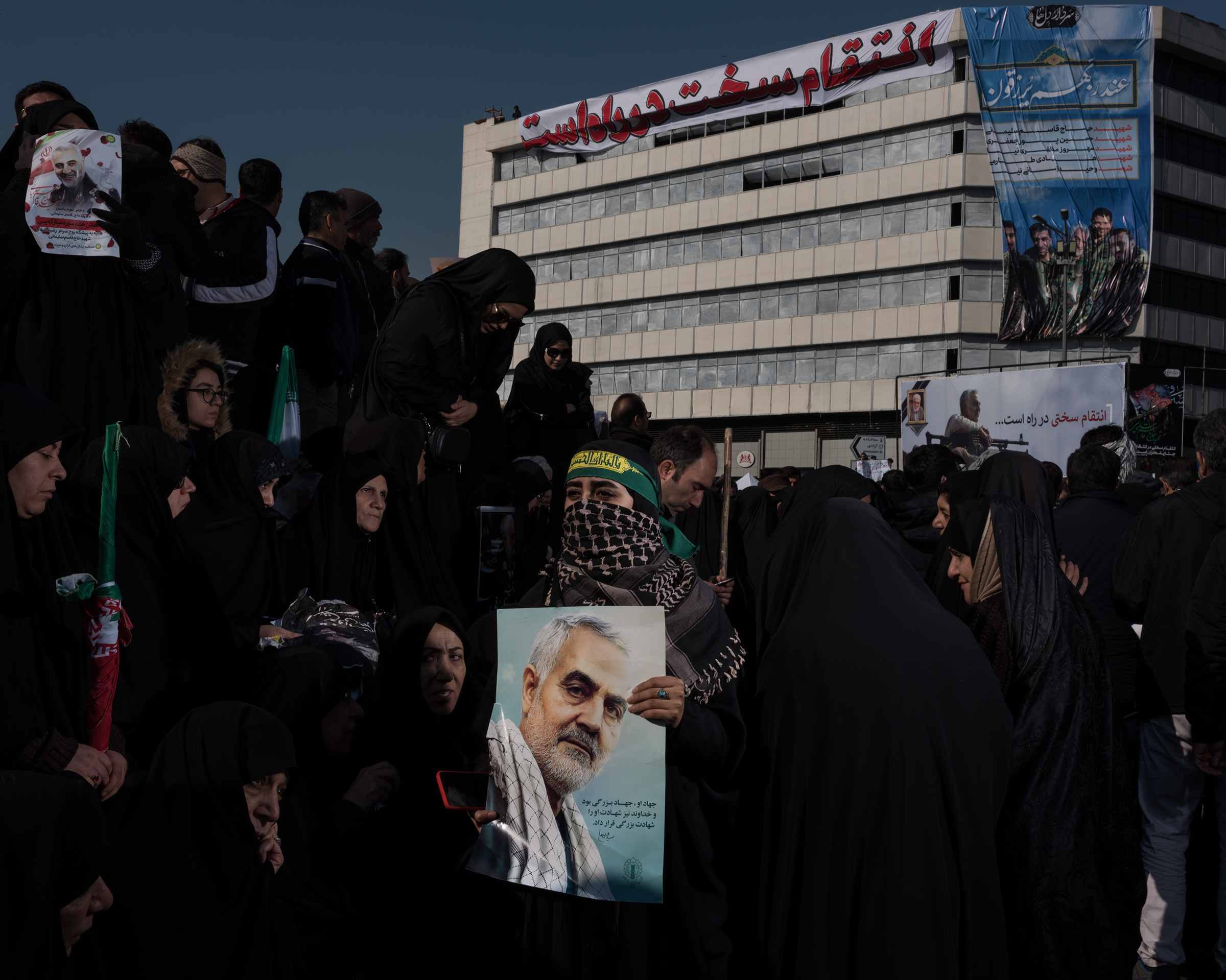 Iranians amassed in the streets of Tehran in the wake of the killing Qasem Soleimani, considered a hero by millions for leading the elite Quds Force.