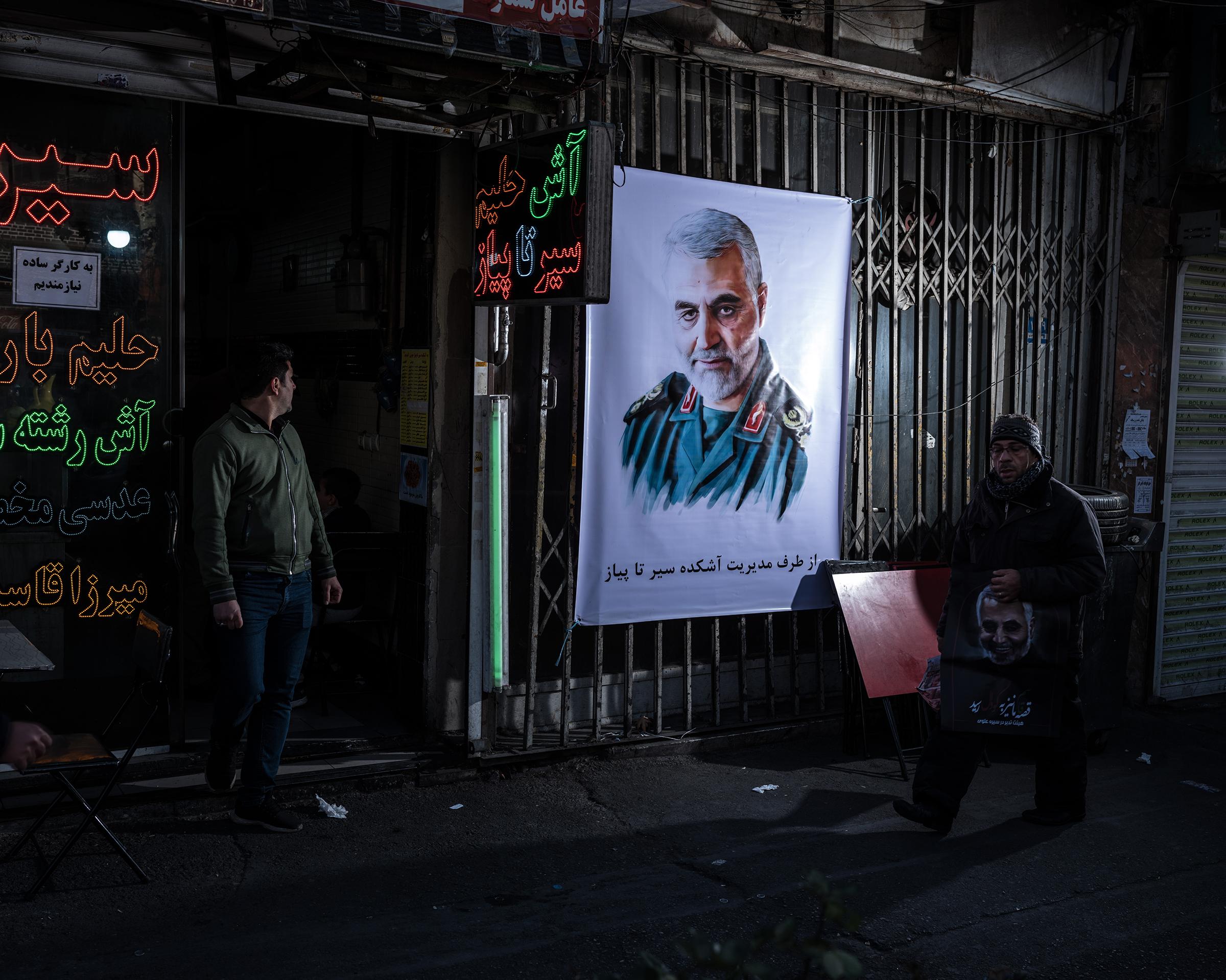 A poster of Qasem Soleimani on a street in Tehran on Jan. 6.