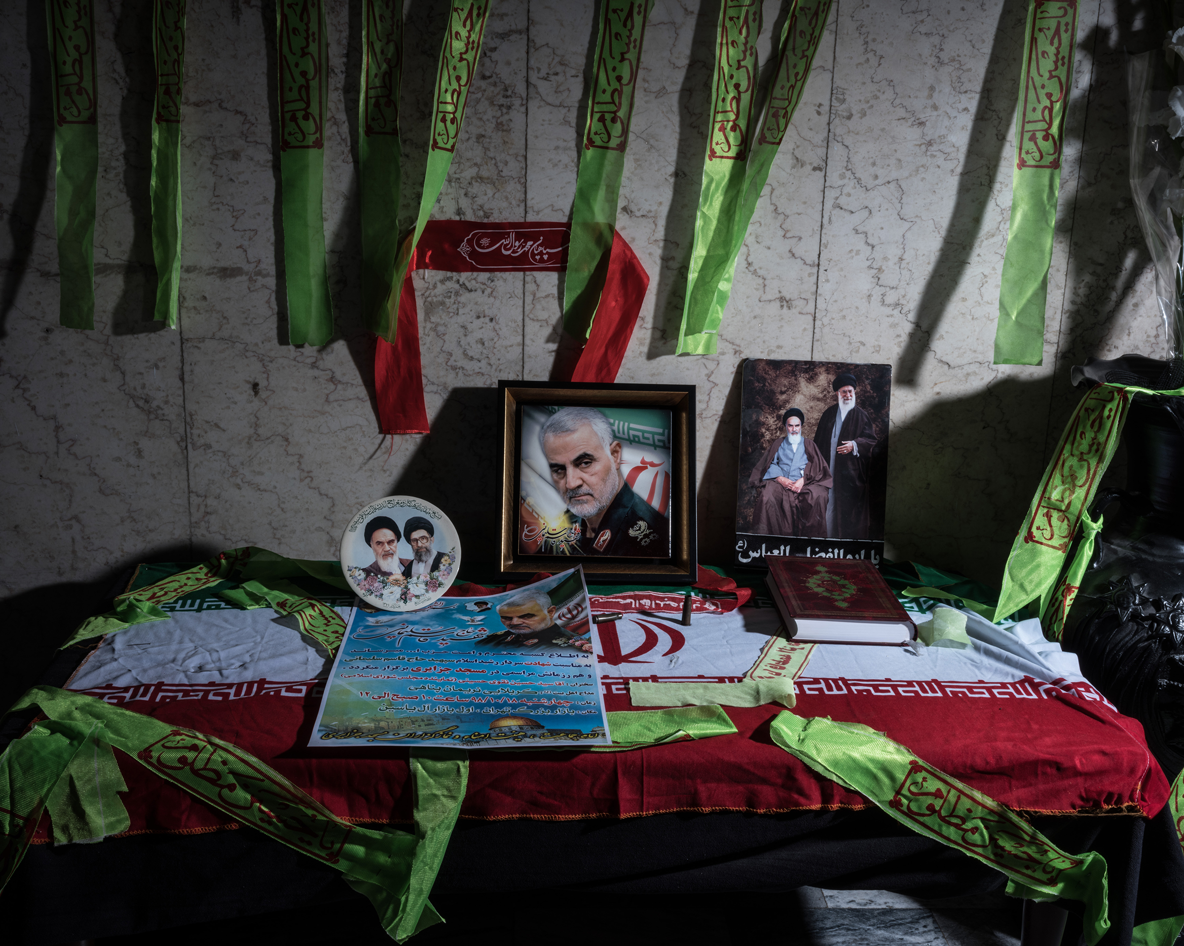 A makeshift shrine to Soleimani is set up in Tehran's Grand Bazaar on Jan. 8.