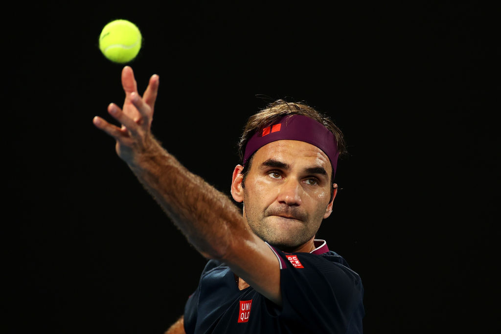 Roger Federer of Switzerland serves during his Men's Singles third round match against John Millman of Australia on day five of the 2020 Australian Open at Melbourne Park on January 24, 2020 in Melbourne, Australia.