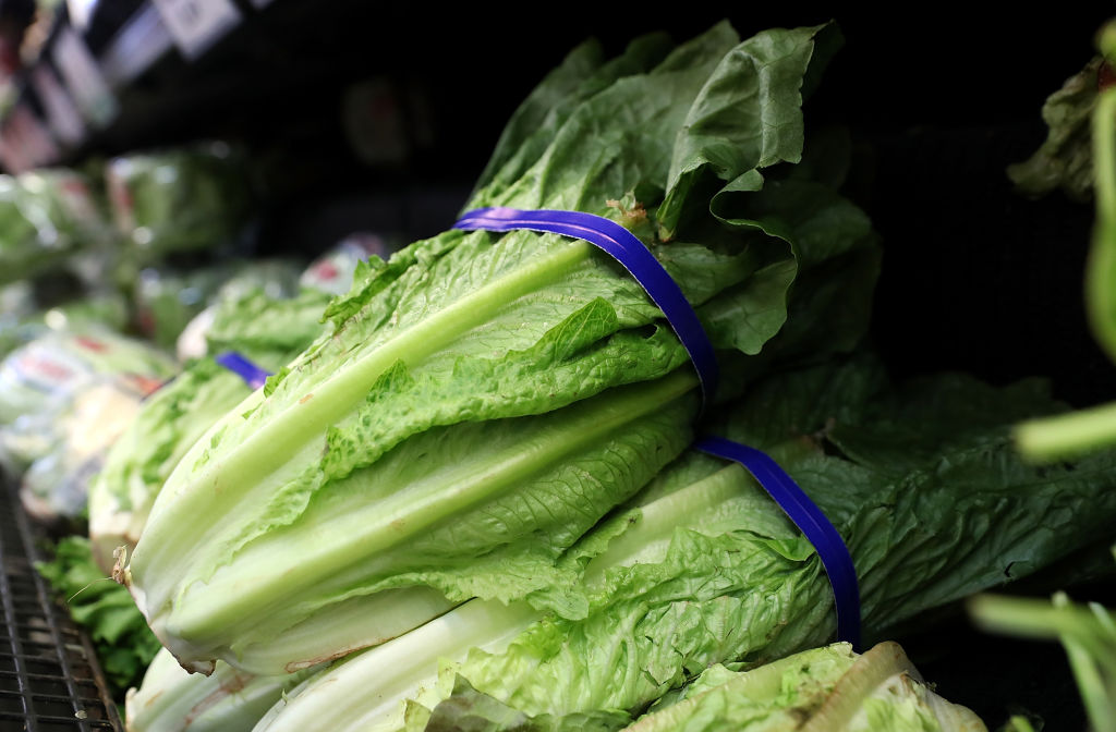 Romaine lettuce is displayed on a shelf at a supermarket on April 23, 2018 in San Rafael, California.