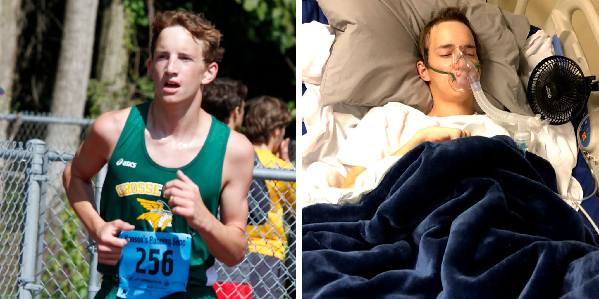 Daniel Ament, before and during his illness.