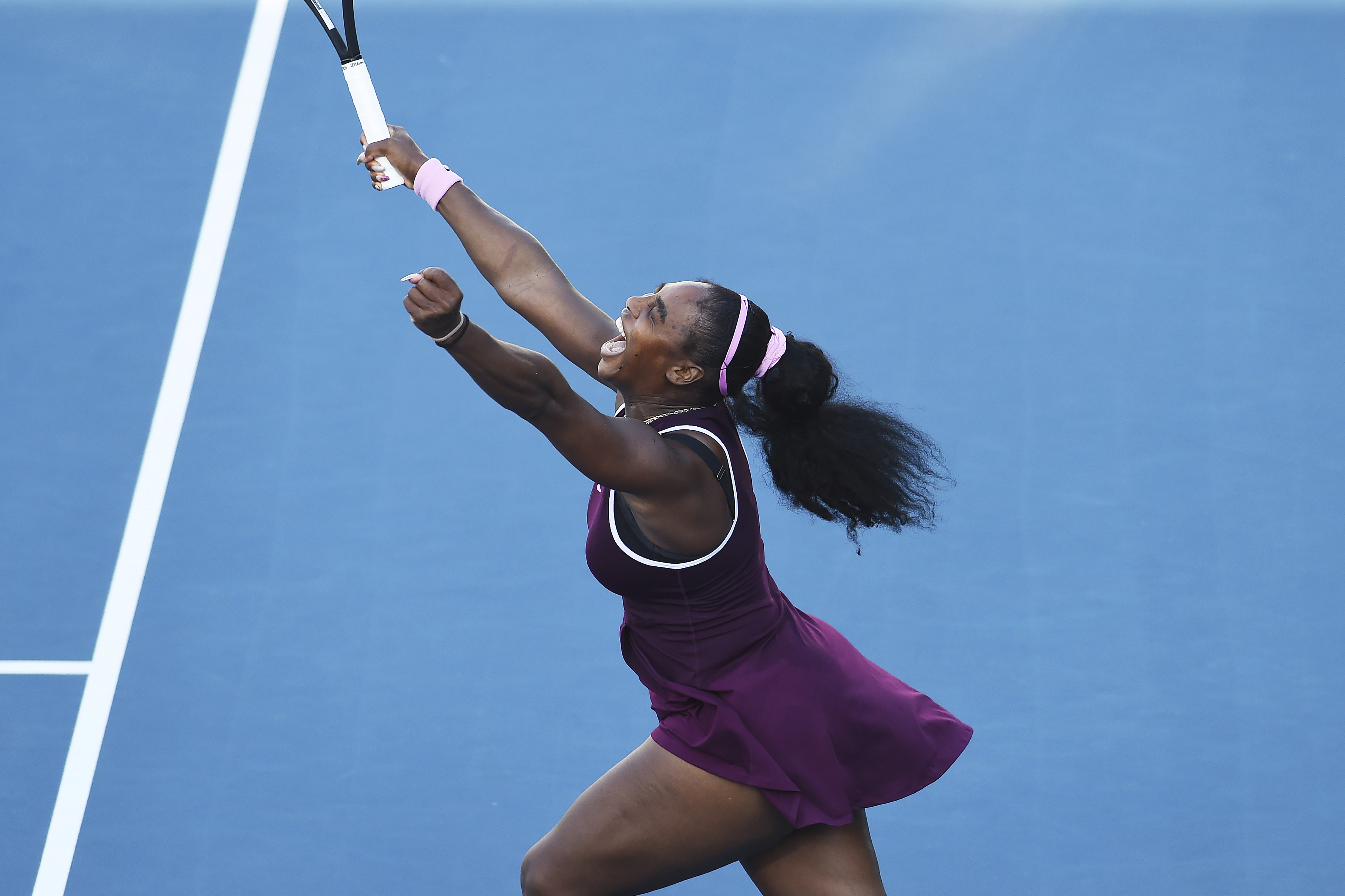 United States Serena Williams celebrates winning her finals singles match against United States Jessica Pegula at the ASB Classic in Auckland, New Zealand, on Jan. 12, 2020.