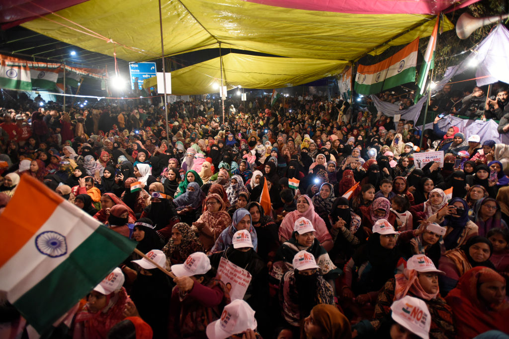 Women protesters who are on an indefinite sit-in against the Citizenship Amendment Act (CAA) and National Register of Citizens (NRC) seen at Shaheen Bagh, on January 12, 2020 in New Delhi, India.