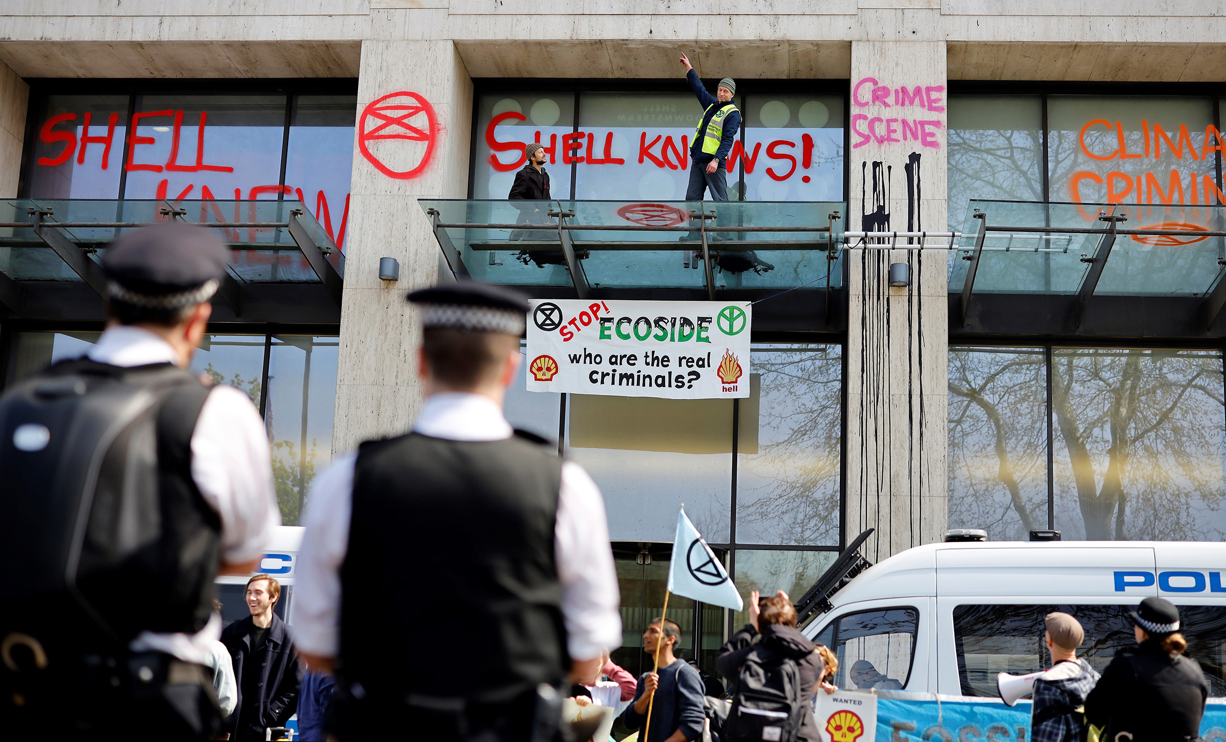 Extinction Rebellion protests outside Shell's London office in April 2019