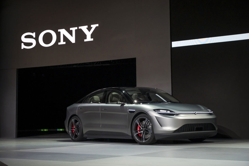 The Sony Corp. Vision-S electric concept car is driven onto the stage during a press event at CES 2020 in Las Vegas on Jan. 6, 2020.