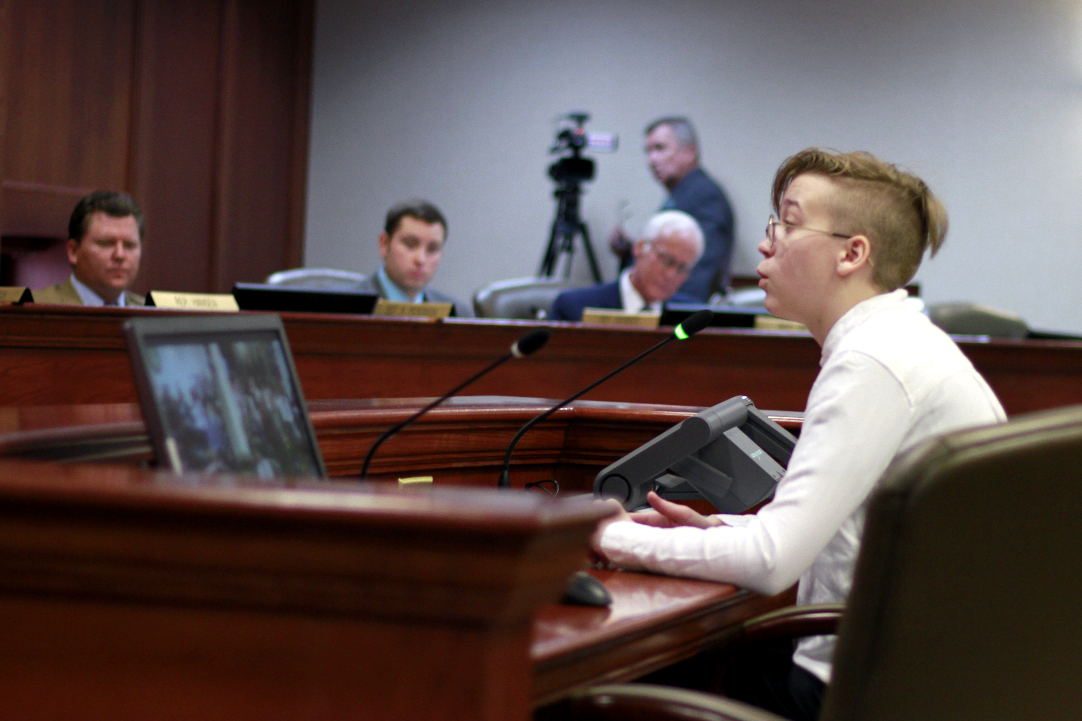 Quinncy Parke, 17, testifies to the South Dakota House State Affairs committee against a bill that would make it illegal for doctors to give gender reassignment surgery or hormone treatment to trabs children under 16 on Jan. 22, 2020 in Pierre, S.D.