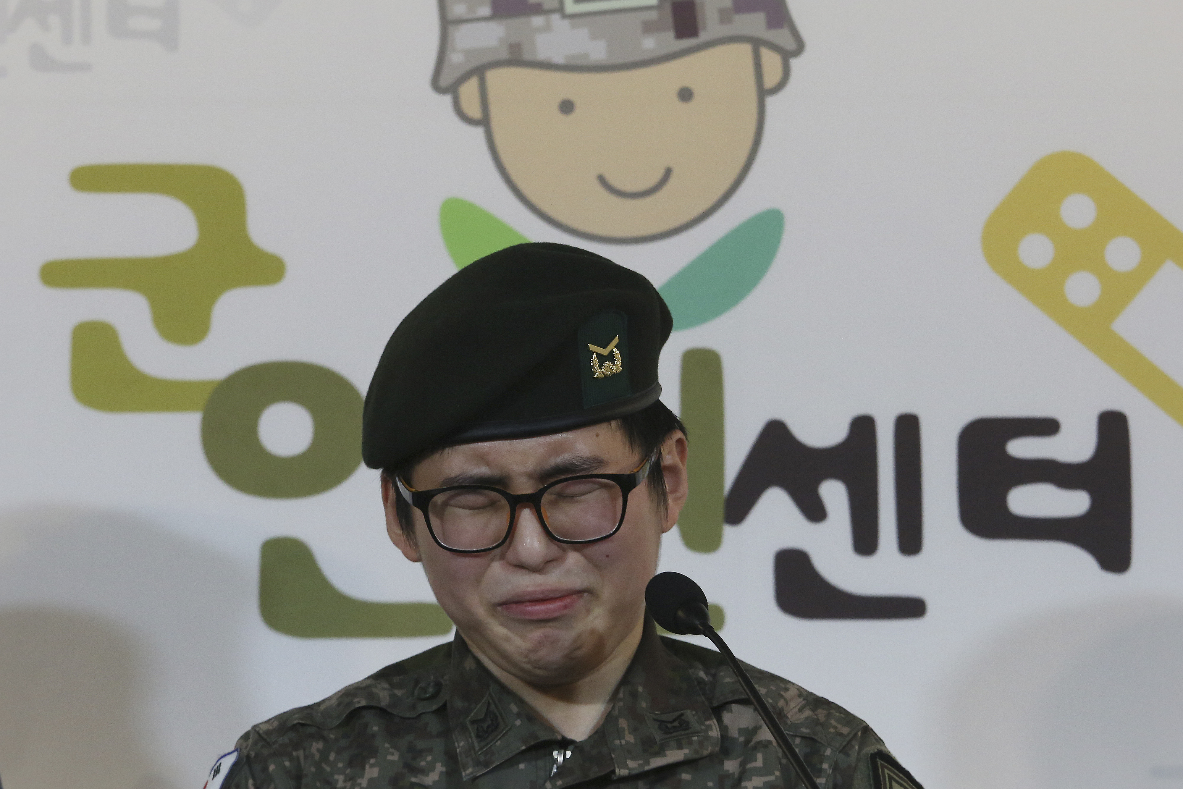 South Korean army Sergeant Byun Hui-su weeps during a press conference at the Center for Military Human Right Korea in Seoul, South Korea, on Jan. 22, 2020.