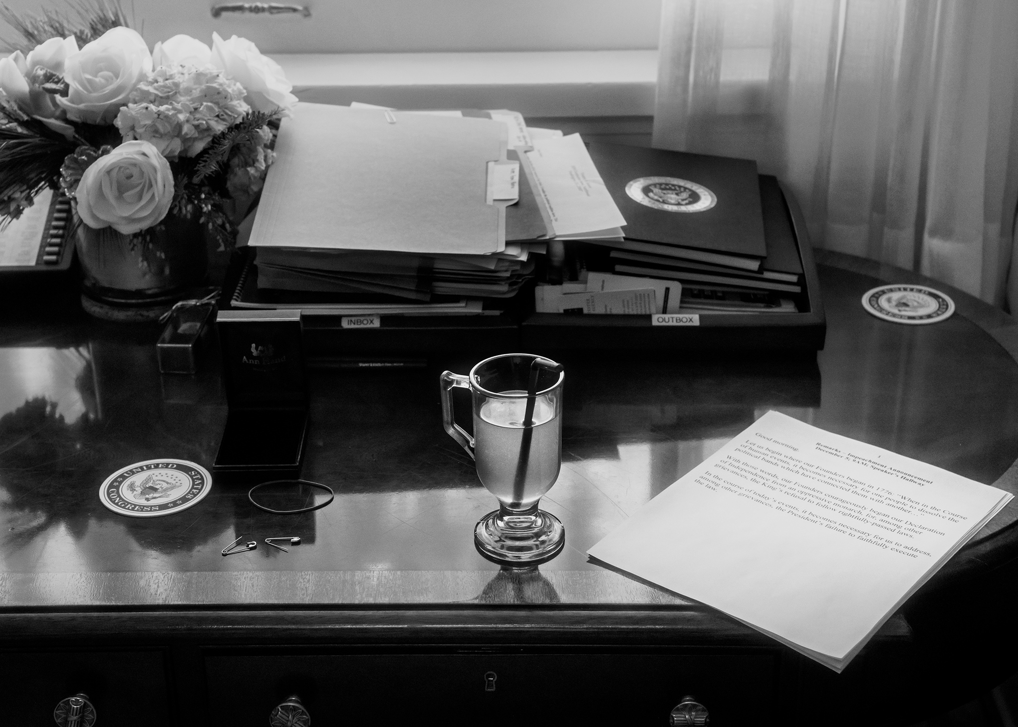 Pelosi's desk in her office at the Capitol on December 5.