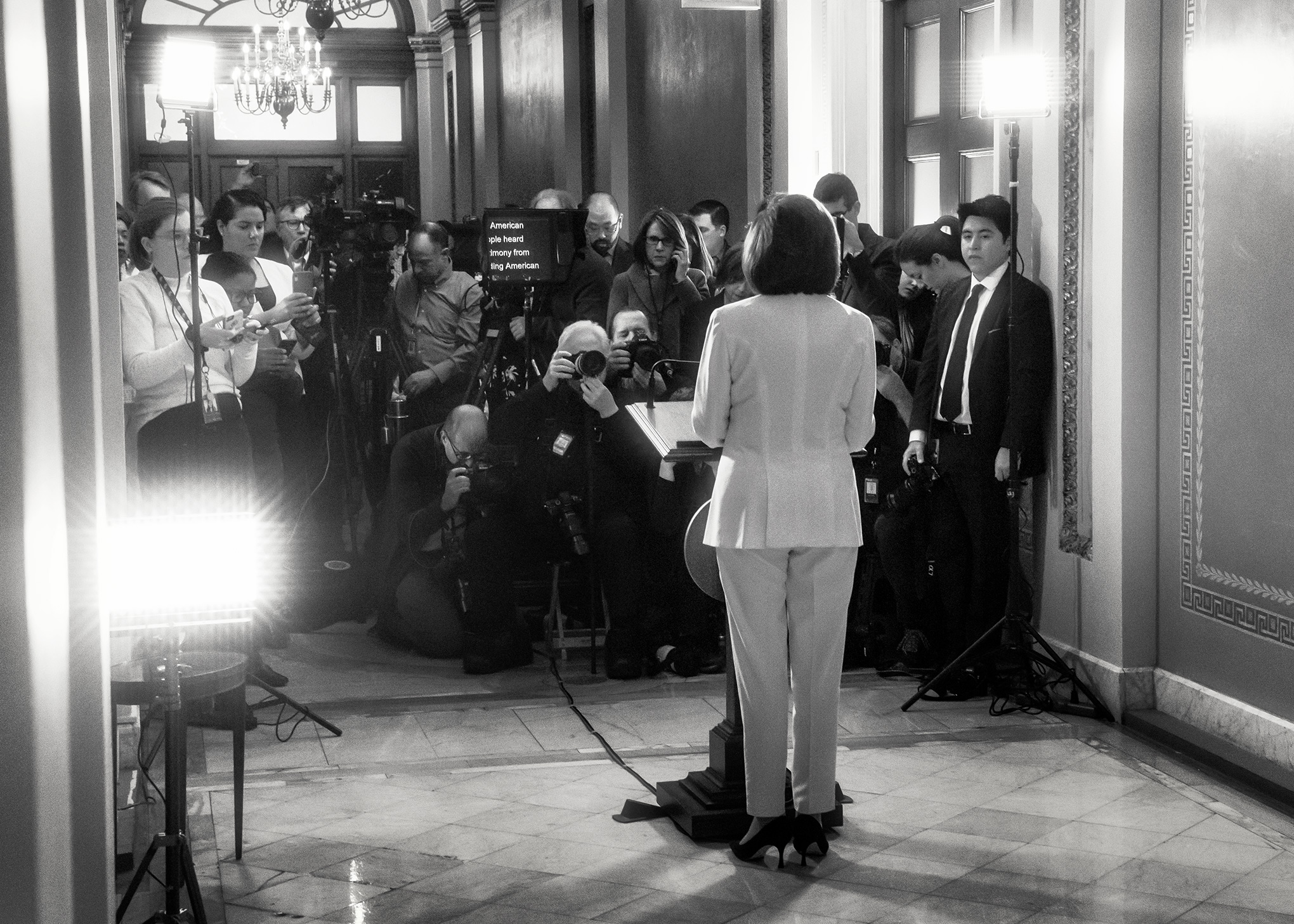 In a televised address given at the Capitol on the morning of December 5, Pelosi announces that the House of Representatives will begin drafting articles of impeachment.