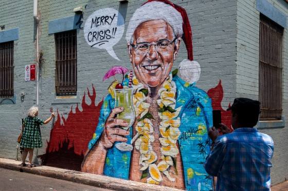Local Artist Creates Artwork Depicting Prime Minister Scott Morrison In Hawaii