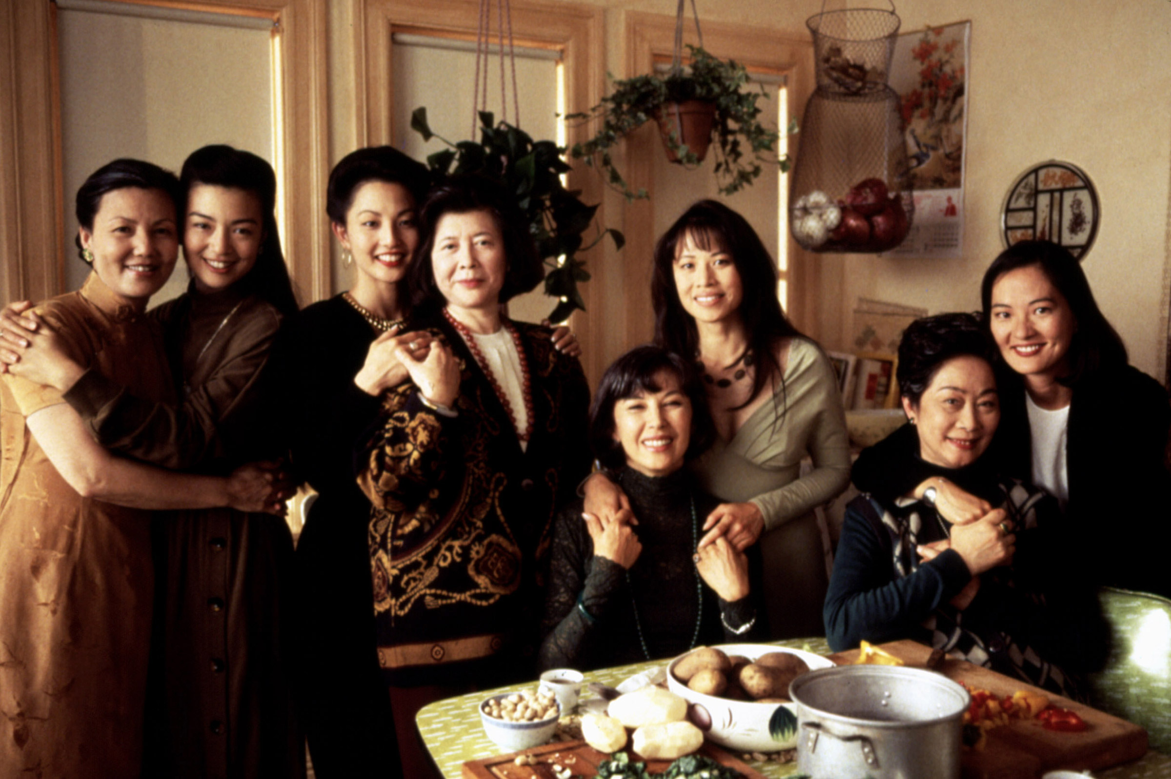 Kieu Chinh, Ming-Na Wen, Tamlyn Tomita, Tsai Chin, France Nuyen, Lauren Tom, Lisa Lu, and Rosalind Chao in The Joy Luck Club, 1993.