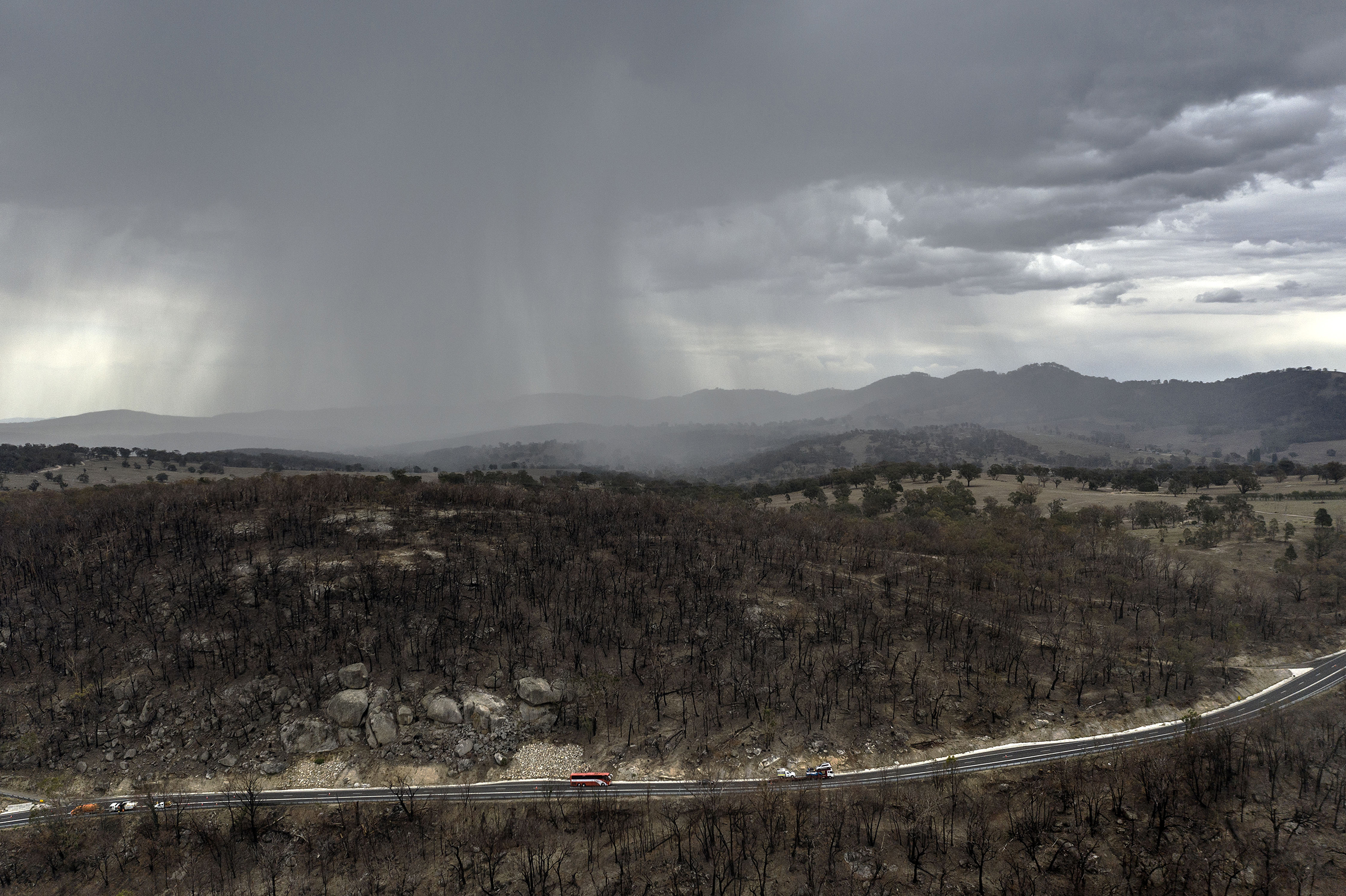 Rain begins to fall on drought and fire-ravaged country near Tamworth, Australia ahead of predicted further wet weather across NSW and Victoria this week, seen here on Jan. 15, 2020.