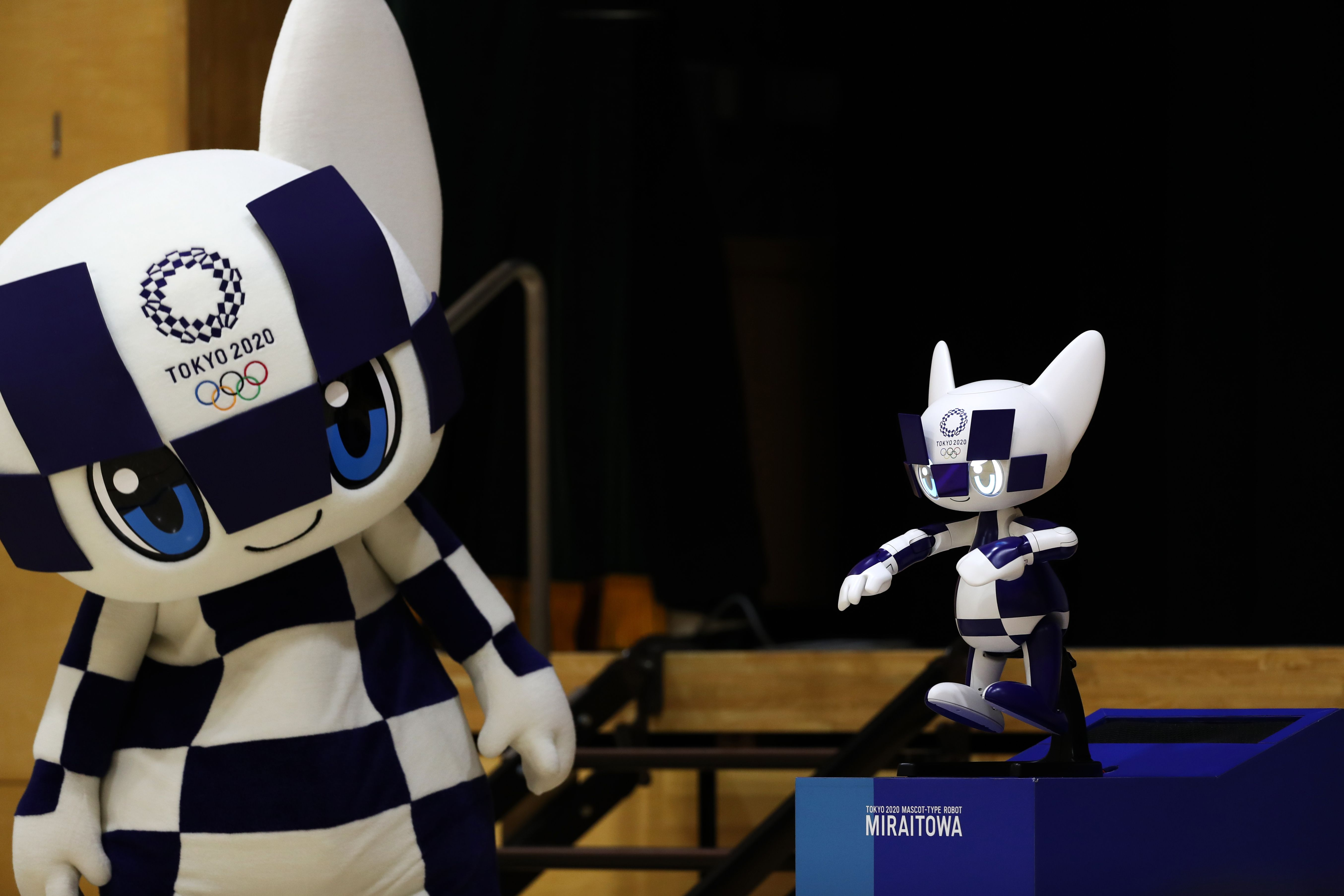 Tokyo 2020 Olympic Games mascot Miraitowa attend a ceremony at a Tokyo elementary school on Nov. 18, 2019.