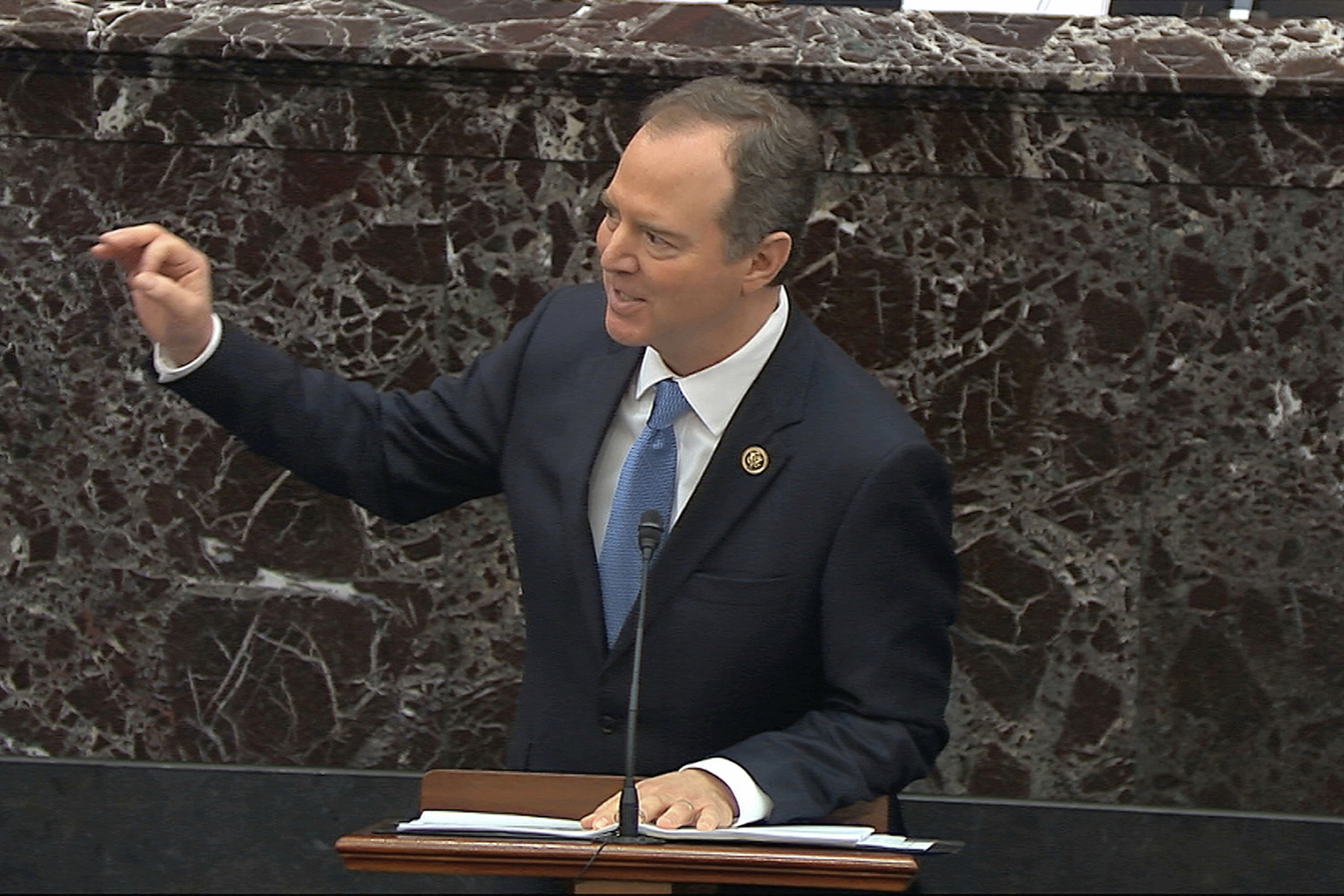 House impeachment manager Rep. Adam Schiff speaks during the impeachment trial against President Donald Trump in the Senate at the U.S. Capitol in Washington, Jan. 23, 2020.