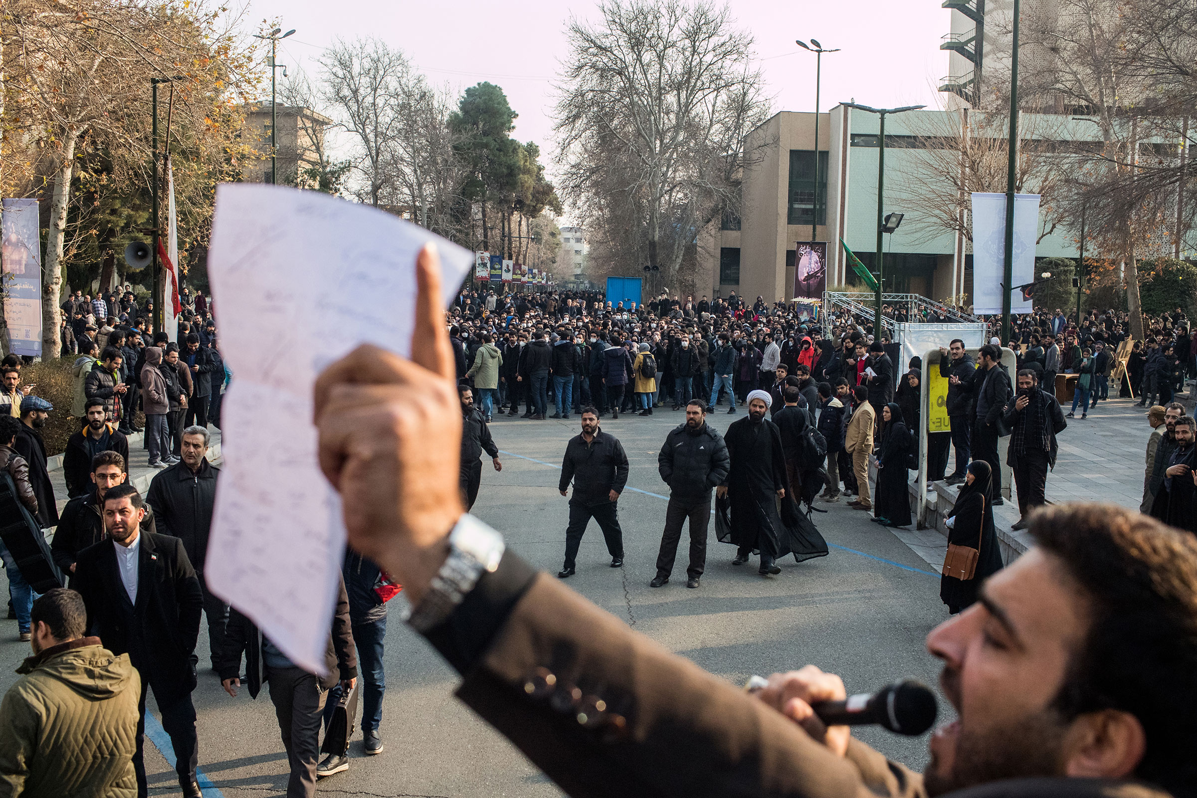 January 14, 2020 - Tehran, Iran: Students protest against the government at Tehran University at the same time when the pro-government students are holding a memorial for Major Gen. Qasem Soleimani in Tehran, Iran.