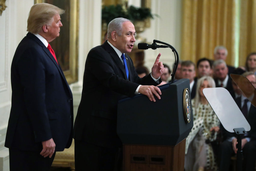 Israeli Prime Minister Benjamin Netanyahu speaks during a press conference with U.S. President Donald Trump in the East Room of the White House on January 28, 2020 in Washington, DC.