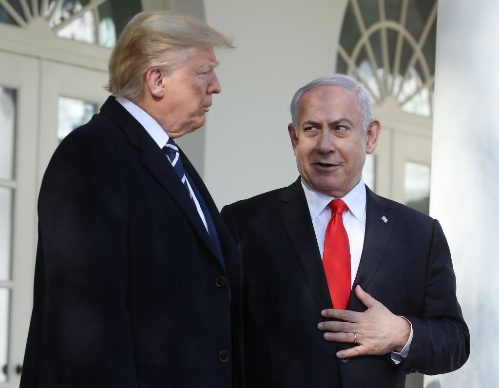 President Donald Trump and Israeli Prime Minister Benjamin Netanyahu talk to reporters along the colonnade at the White House on January 27, 2020 in Washington, DC.