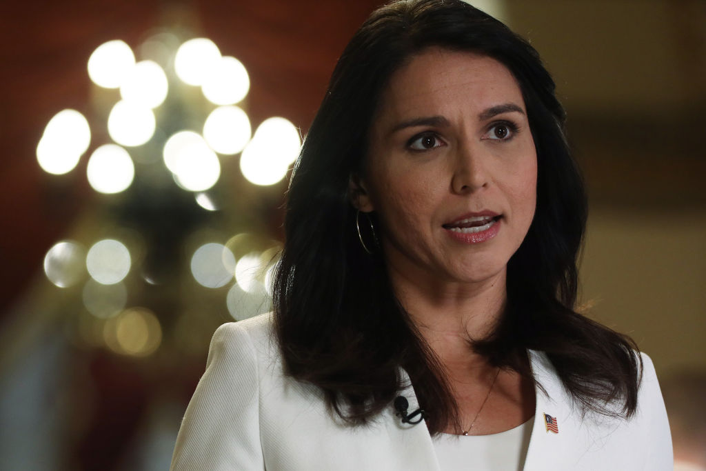 Democratic Presidential hopeful Rep. Tulsi Gabbard  participates in a TV interview at the U.S. Capitol on Jan. 9, 2020 in Washington, DC.
