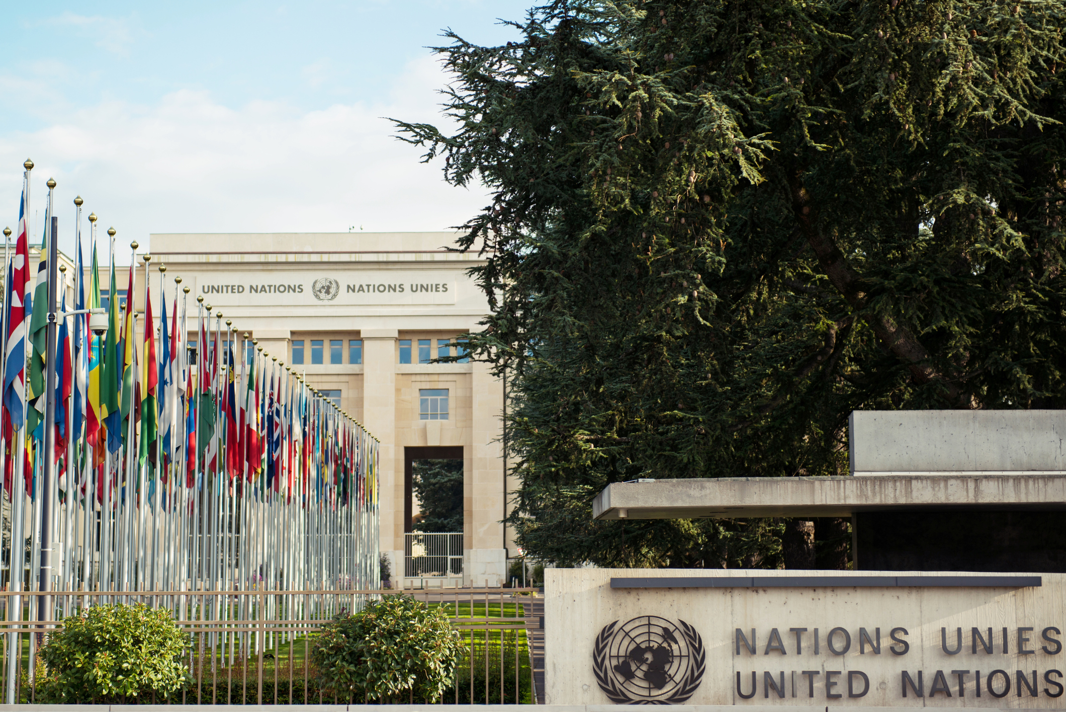 National flags in front of United Nations headquarters in Geneva, Switzerland.