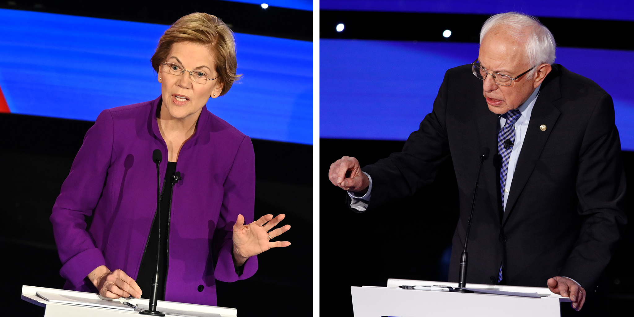 Democratic presidential hopefuls Massachusetts Senator Elizabeth Warren and Sen. Bernie Sanders, I-Vt.