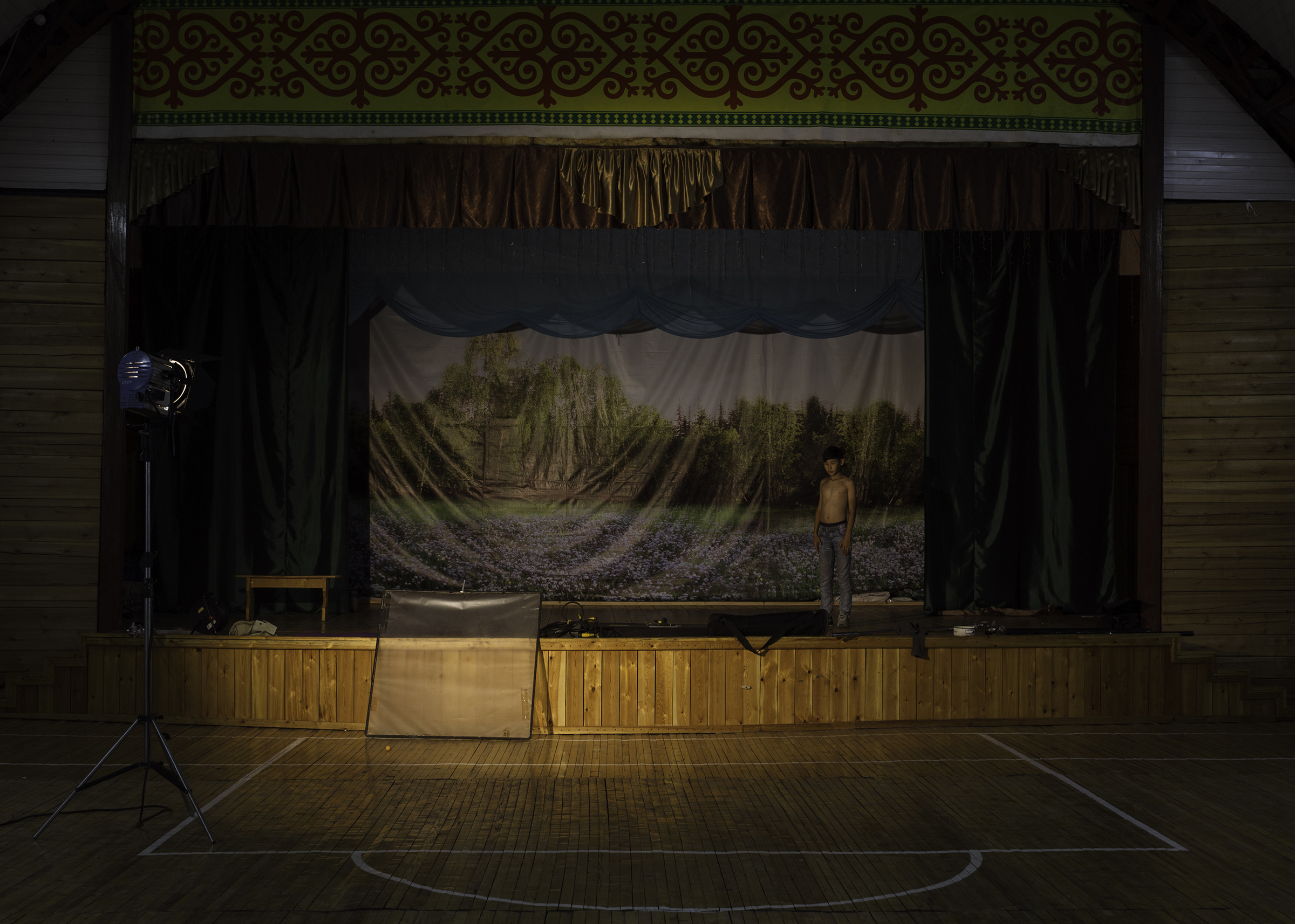 The theater stage in Nikoltsy village in Yakutia, in Aug. 2019. It is also used as a sports hall and cinema.