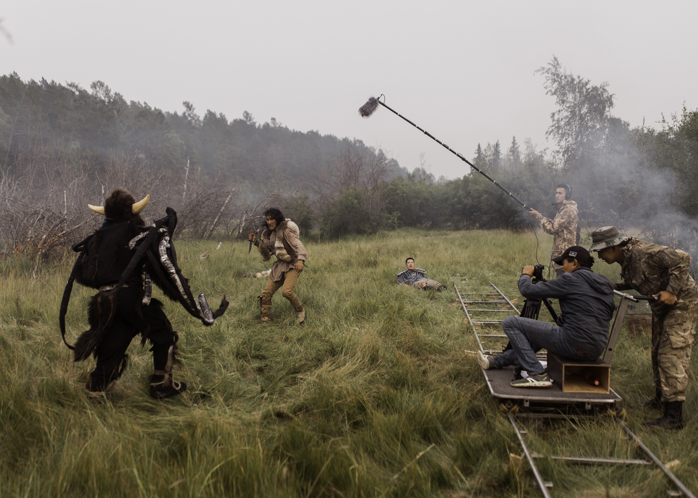 Shooting a scene for the fairy tale movie 'The Old Beyberikeen' in Yakutia, in August 2019.