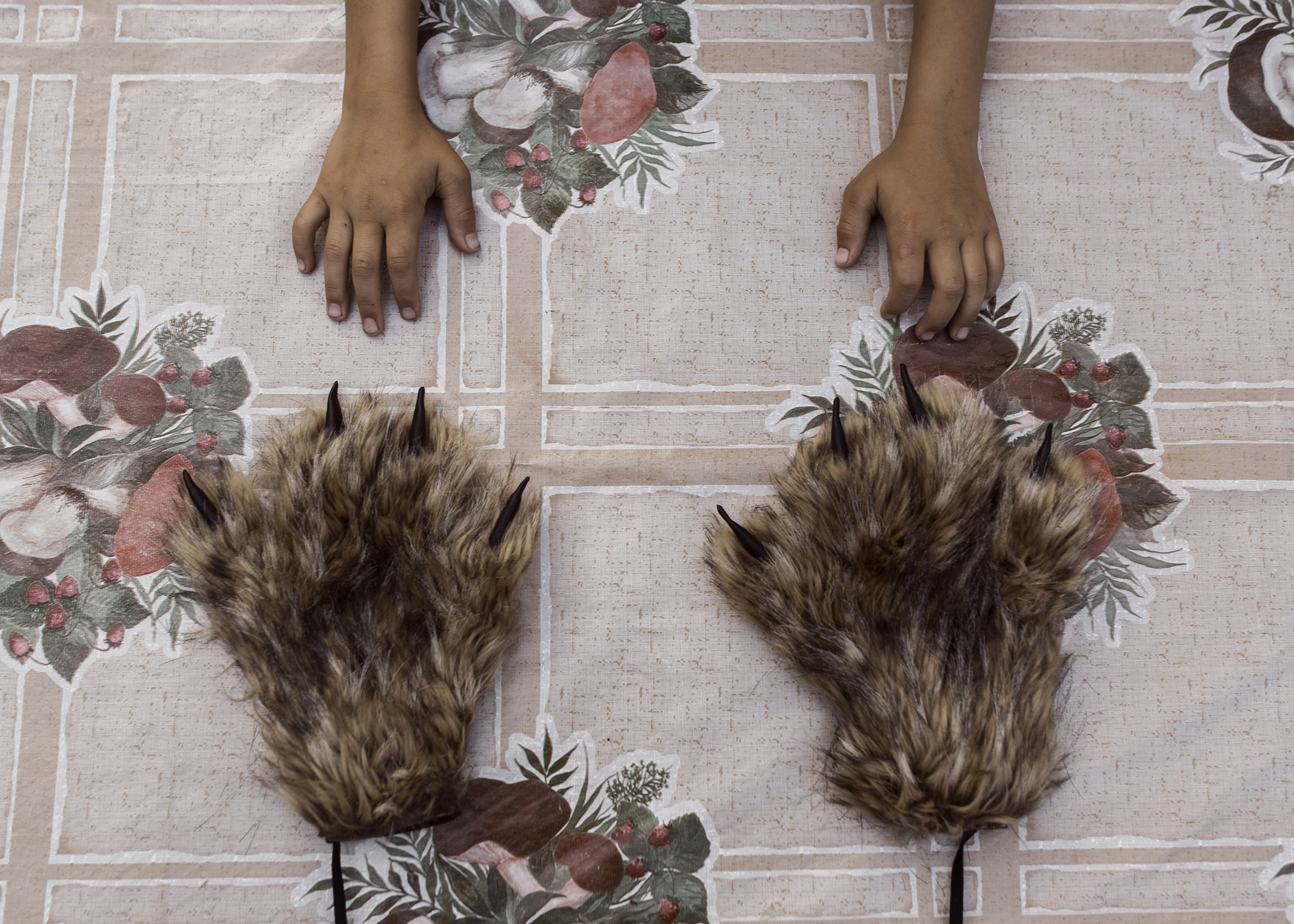 Paws from the costume of a mythical creature living in the swamps called 'dulgancha.' All costumes for the film 'The Old Beyberikeen' were sewn by local designers, who made 30 costume pieces in total.