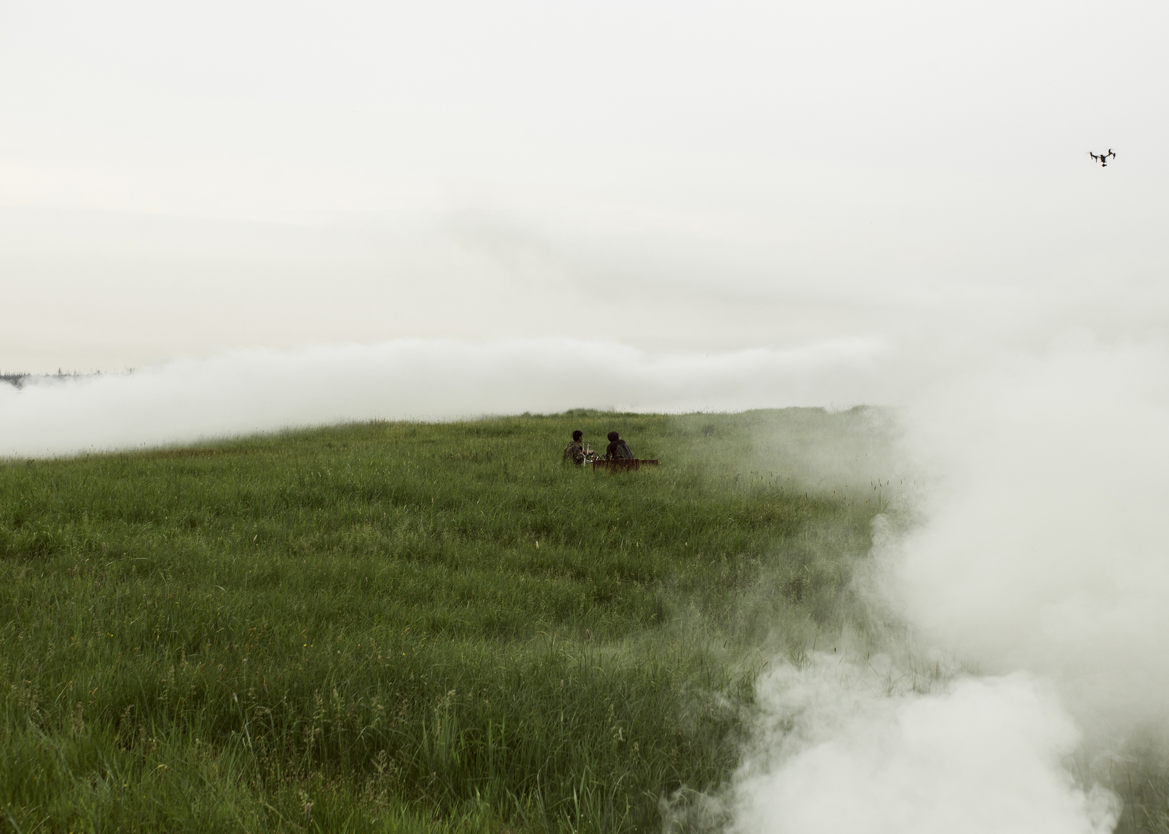On the set of the horror film 'The Cursed Land', directed by Stepan Burnashev. Military smoke bombs were used to create a foggy atmosphere.