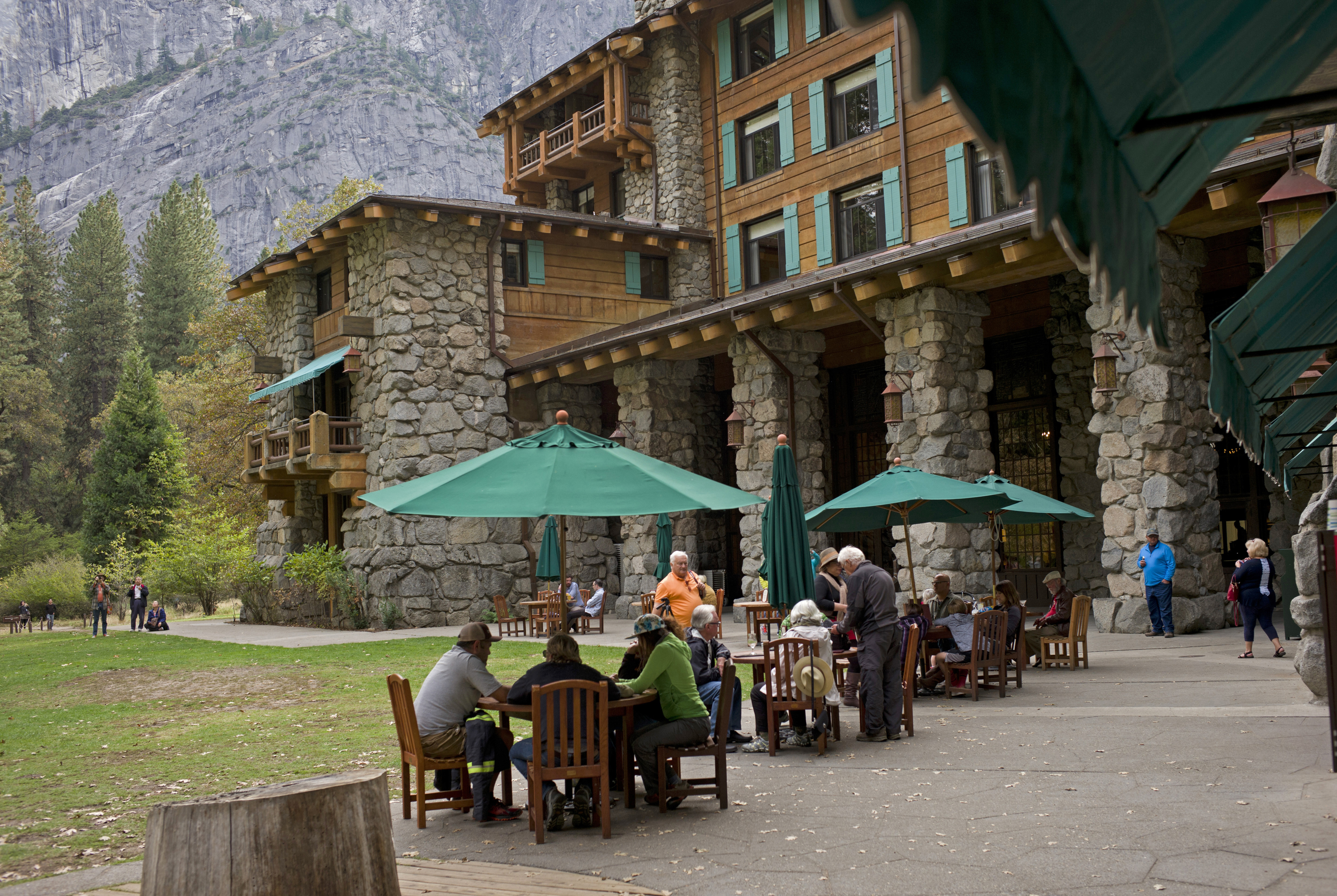 People dine outside the Ahwahnee hotel in Yosemite National Park, Calif. on Oct. 24, 2015.