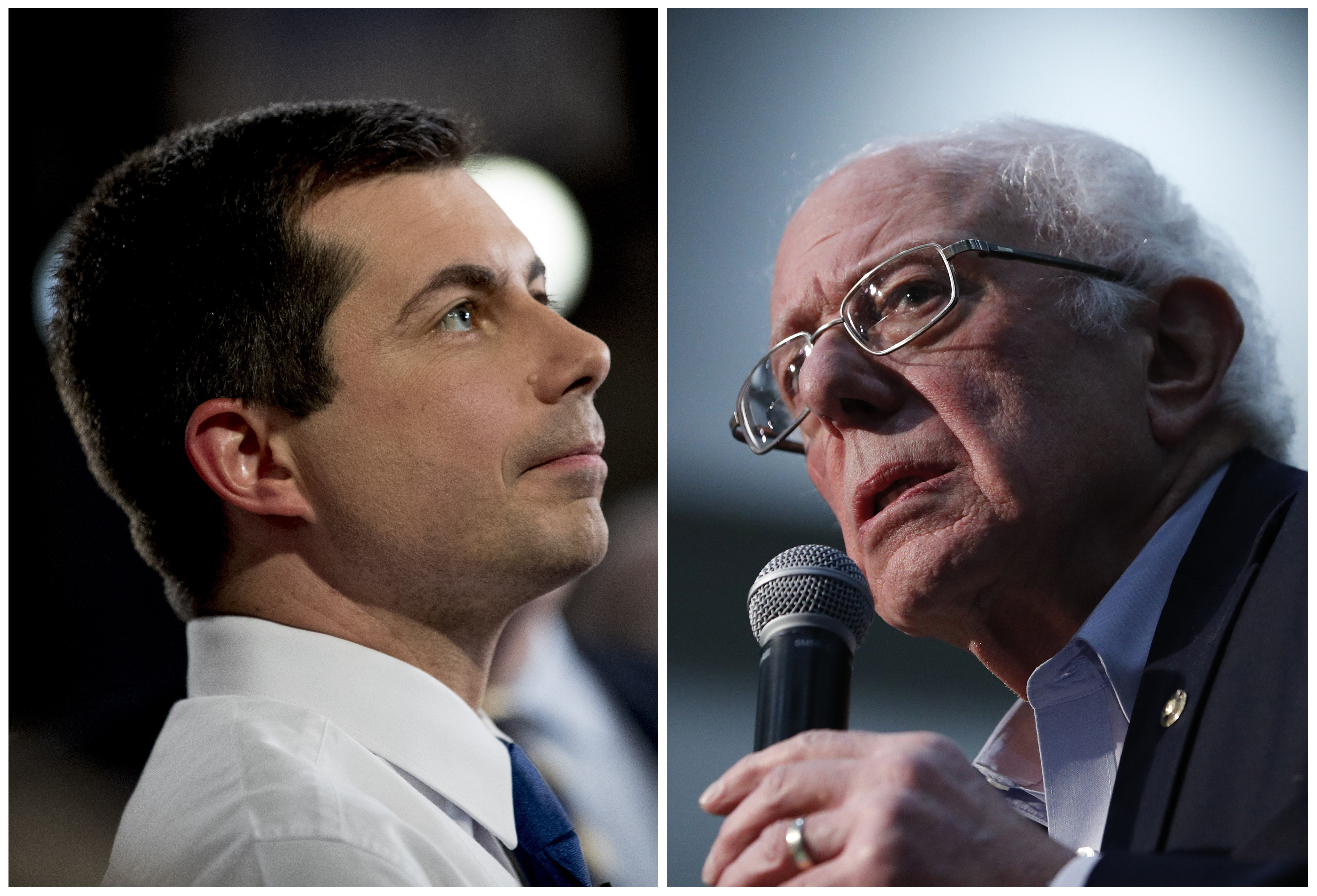 This combination of Jan. 26, 2020, photos shows at left, Democratic presidential candidate former South Bend, Ind., Mayor Pete Buttigieg on Jan. 26, 2020, in Des Moines, Iowa; and at right Democratic presidential candidate Sen. Bernie Sanders, I-Vt., in Sioux City, Iowa. After a daylong delay, partial results from Iowa's Democratic caucuses showed Buttigieg and Sanders ahead of the pack.