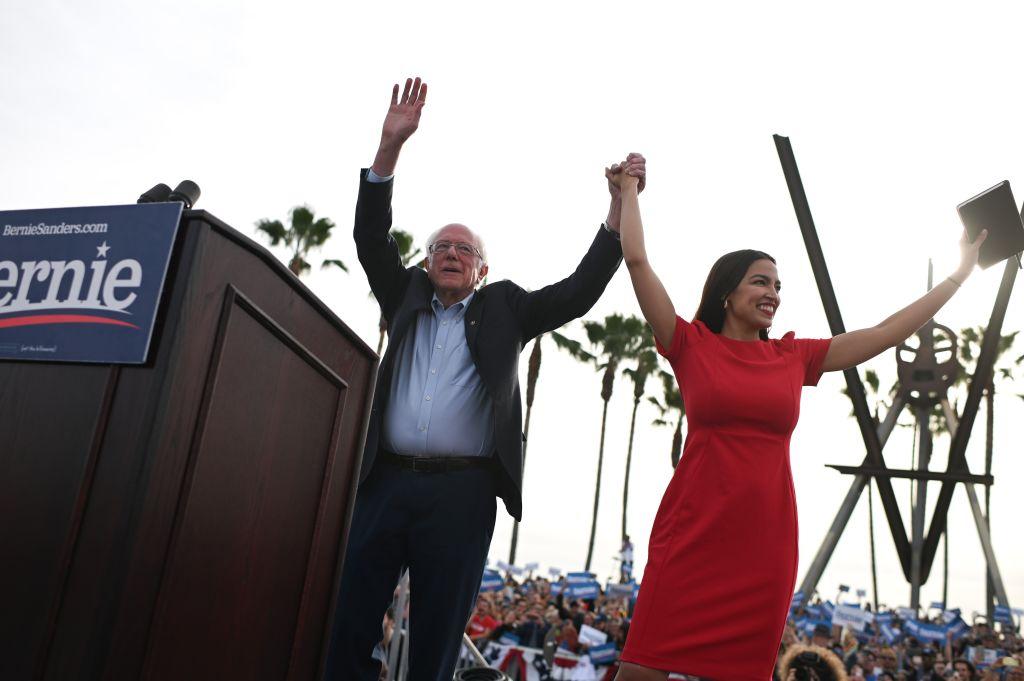 Democratic presidential candidate Bernie Sanders campaigns with Rep. Alexandria Ocasio-Cortez in Los Angeles on December 21, 2019.