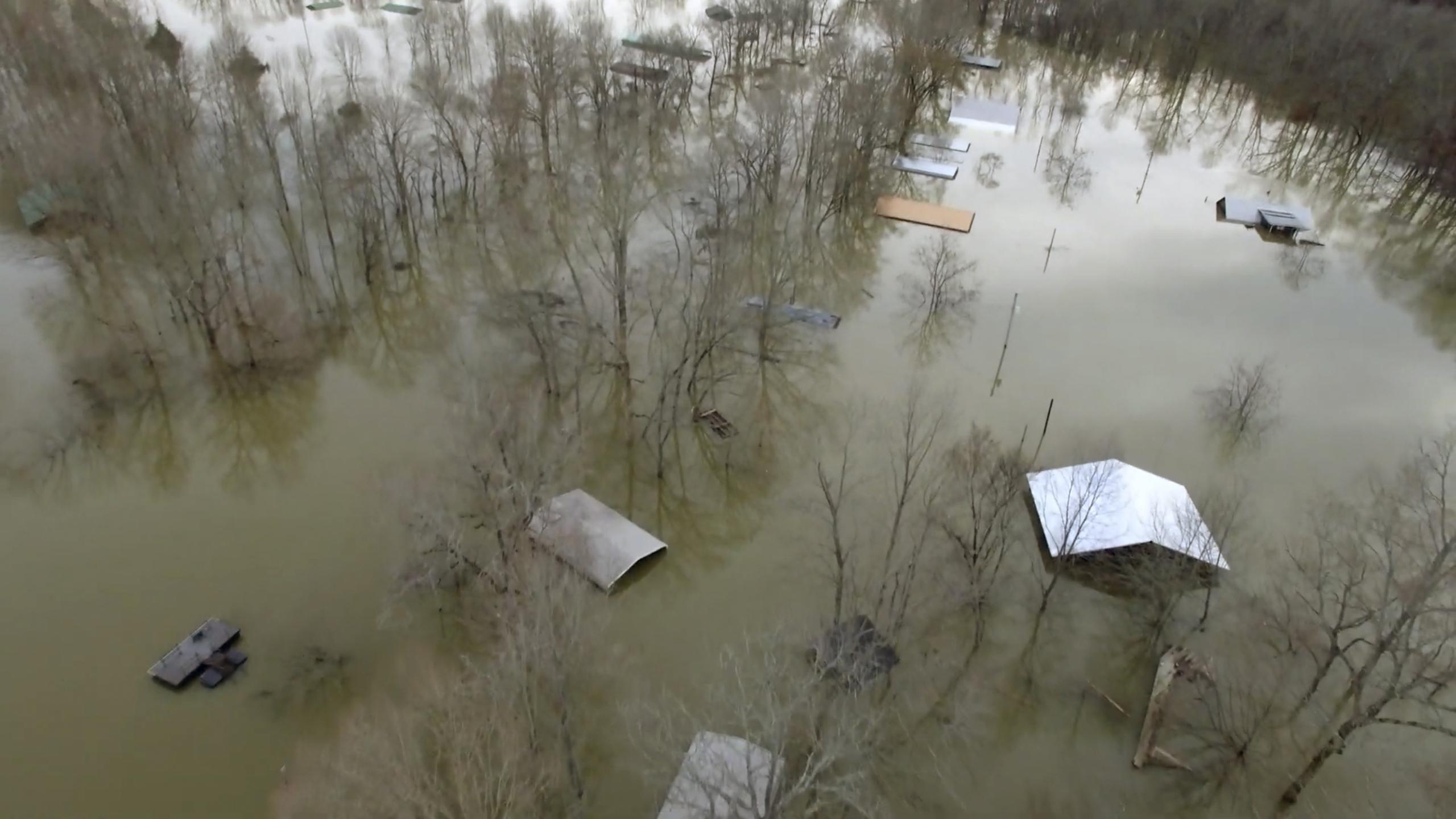 This drone photo provided by Hardin County Fire Department, Savannah, Tenn., shows flooding on Feb. 15, 2020 in Savannah, Tenn.